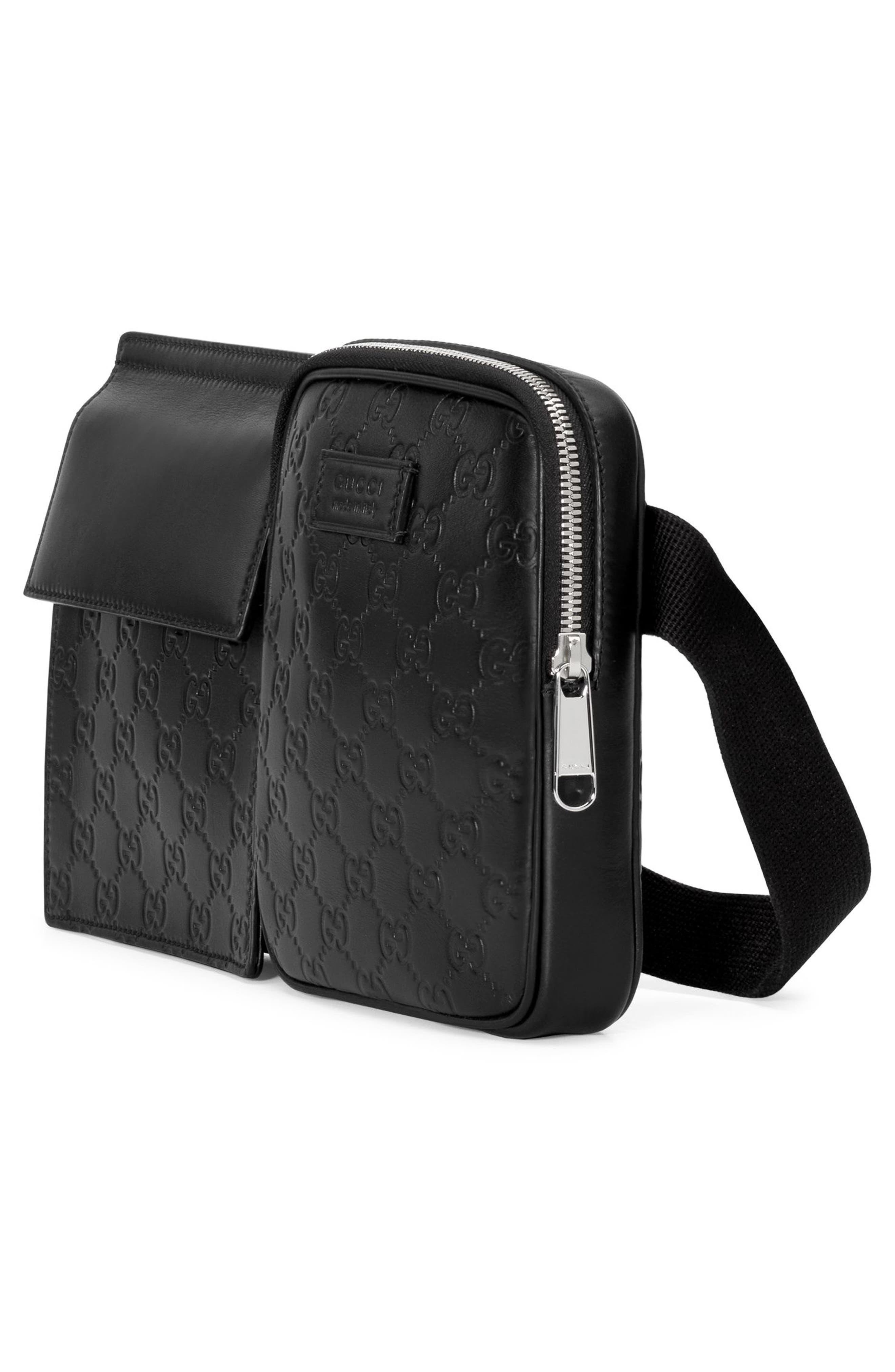 Leather Belt Bag,                             Alternate thumbnail 5, color,                             001