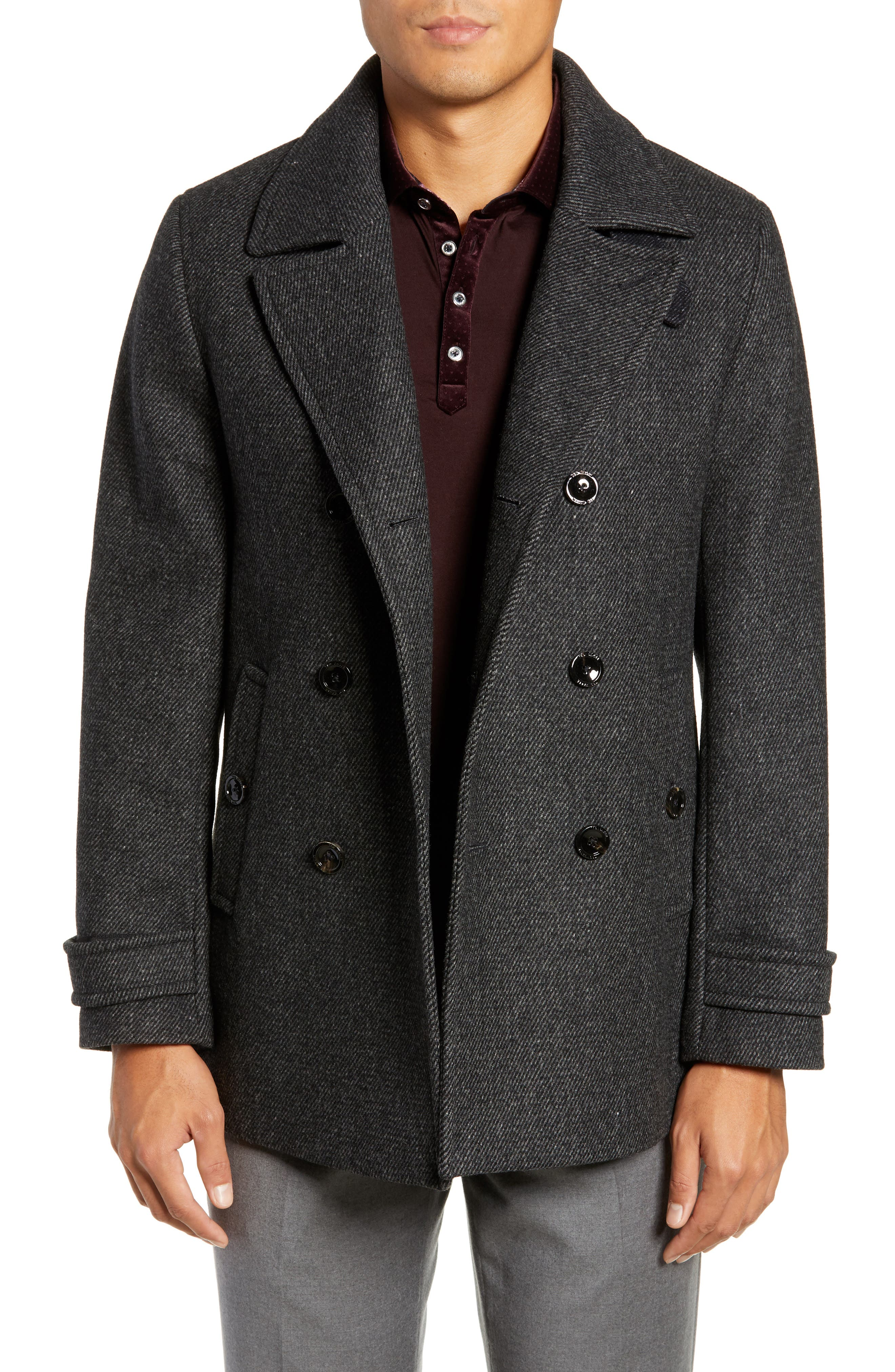 Grilled Wool Blend Peacoat,                         Main,                         color, GREY