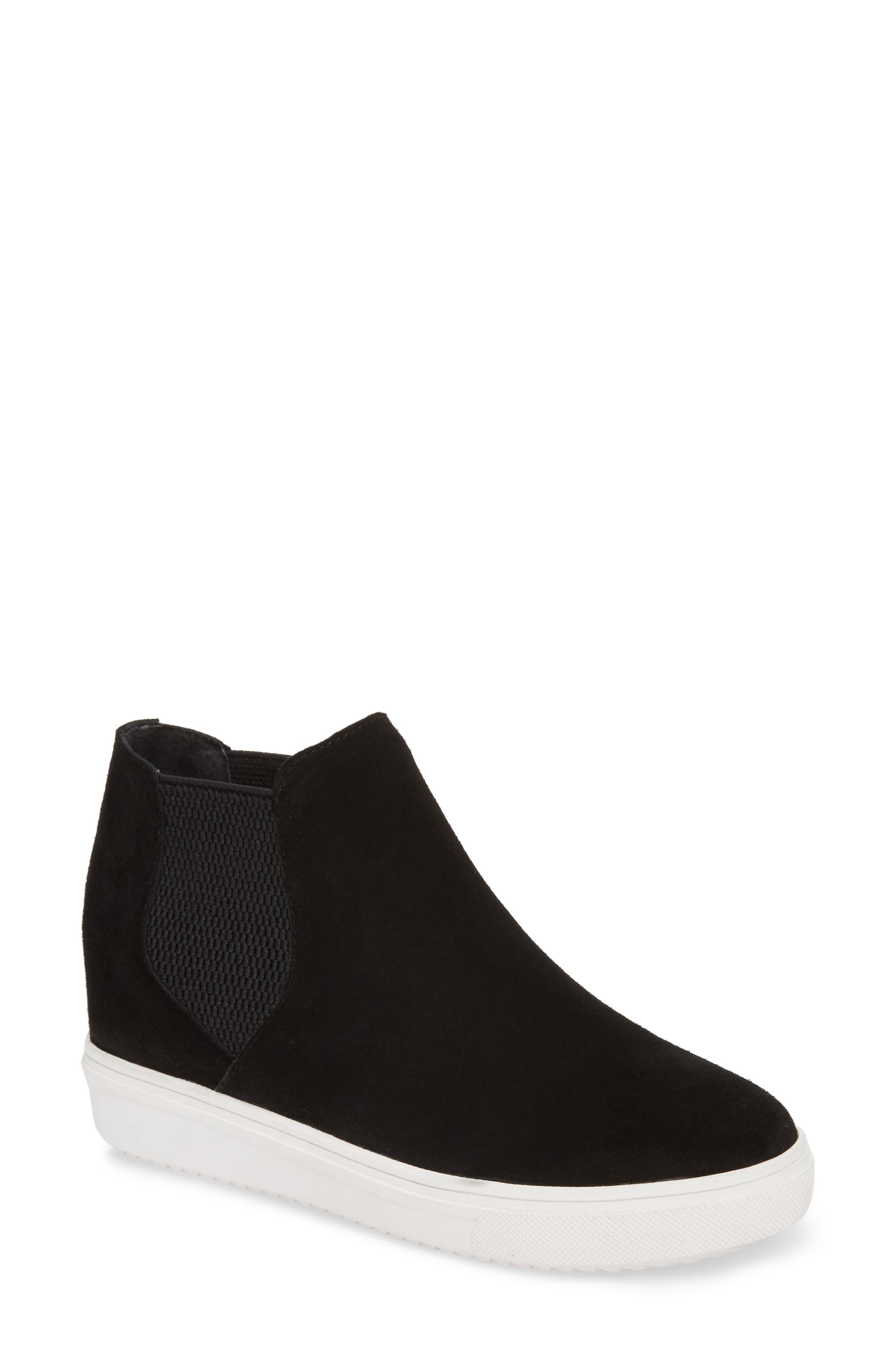 Sultan Chelsea Wedge Sneaker,                             Main thumbnail 1, color,                             BLACK SUEDE