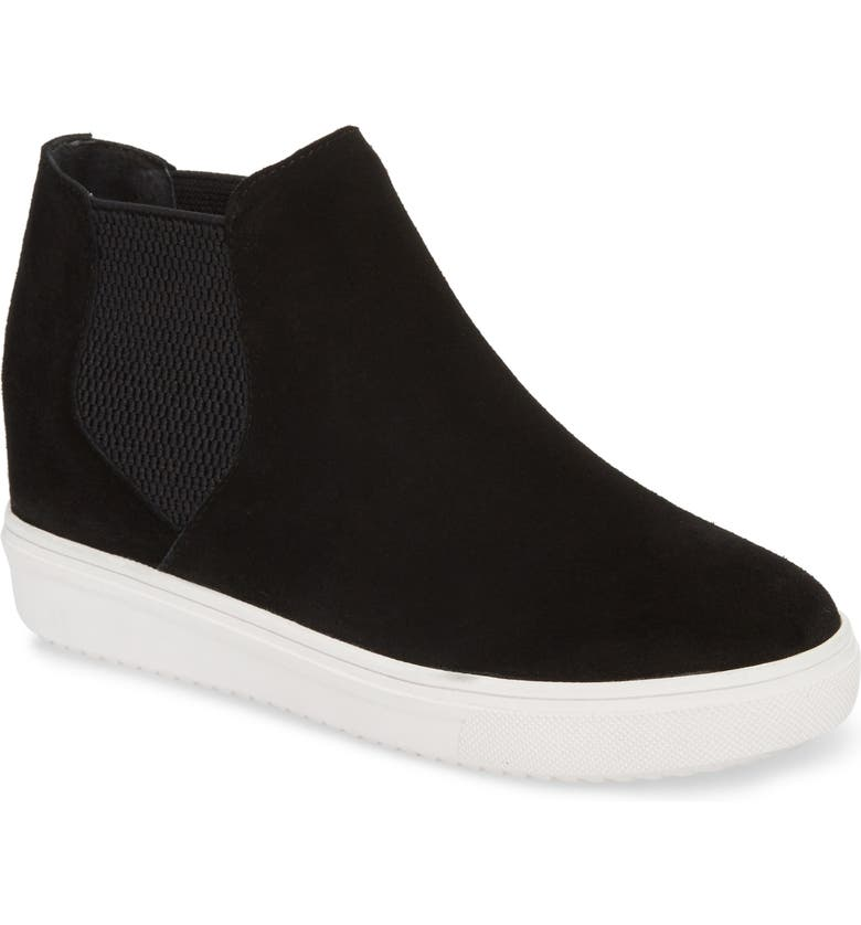 Sultan Chelsea Wedge Sneaker, Main, color, BLACK SUEDE
