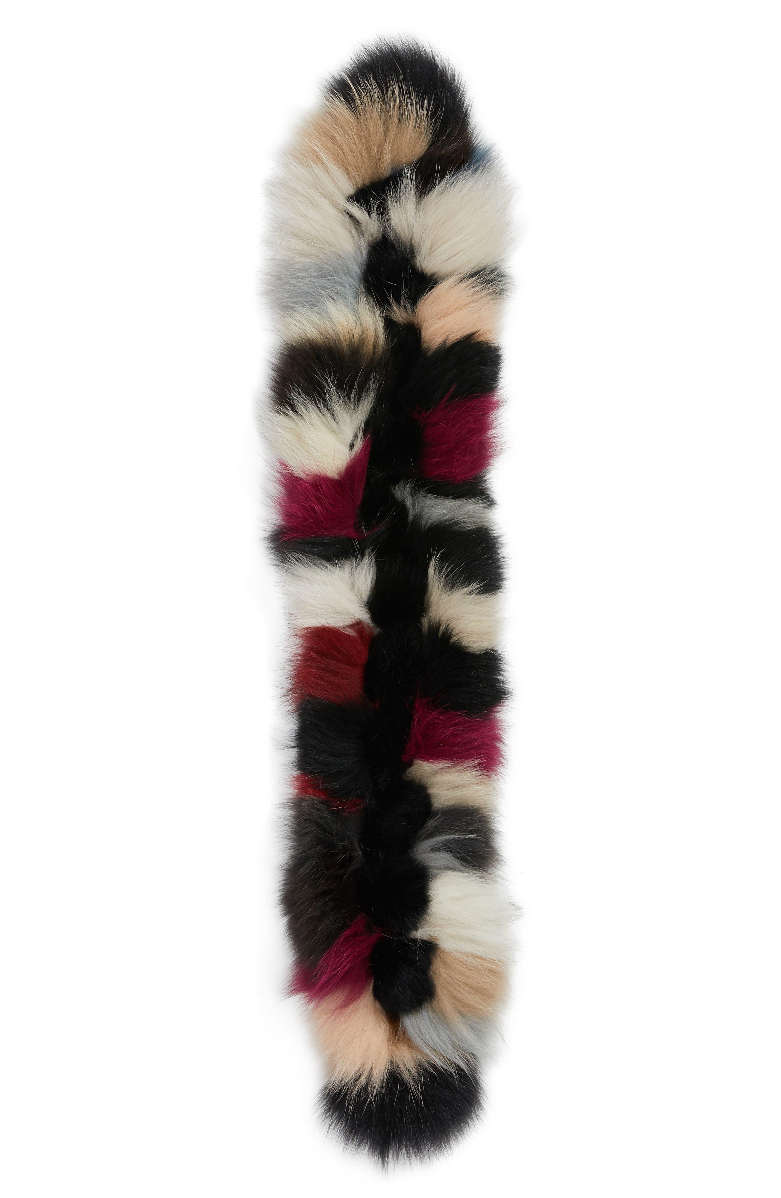 Genuine Fox Fur Scarf,                             Alternate thumbnail 3, color,                             001