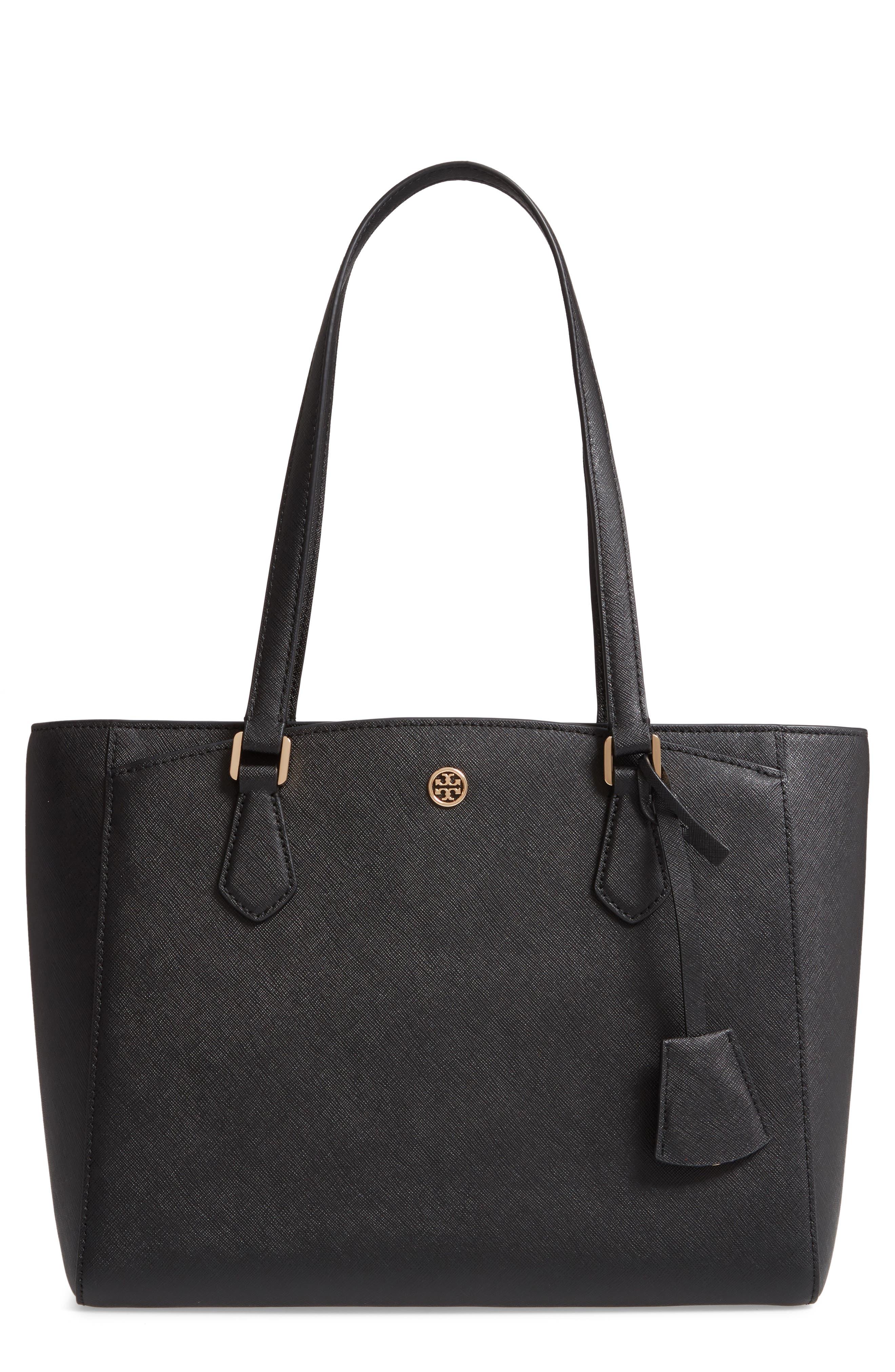 Small Robinson Saffiano Leather Tote, Main, color, BLACK