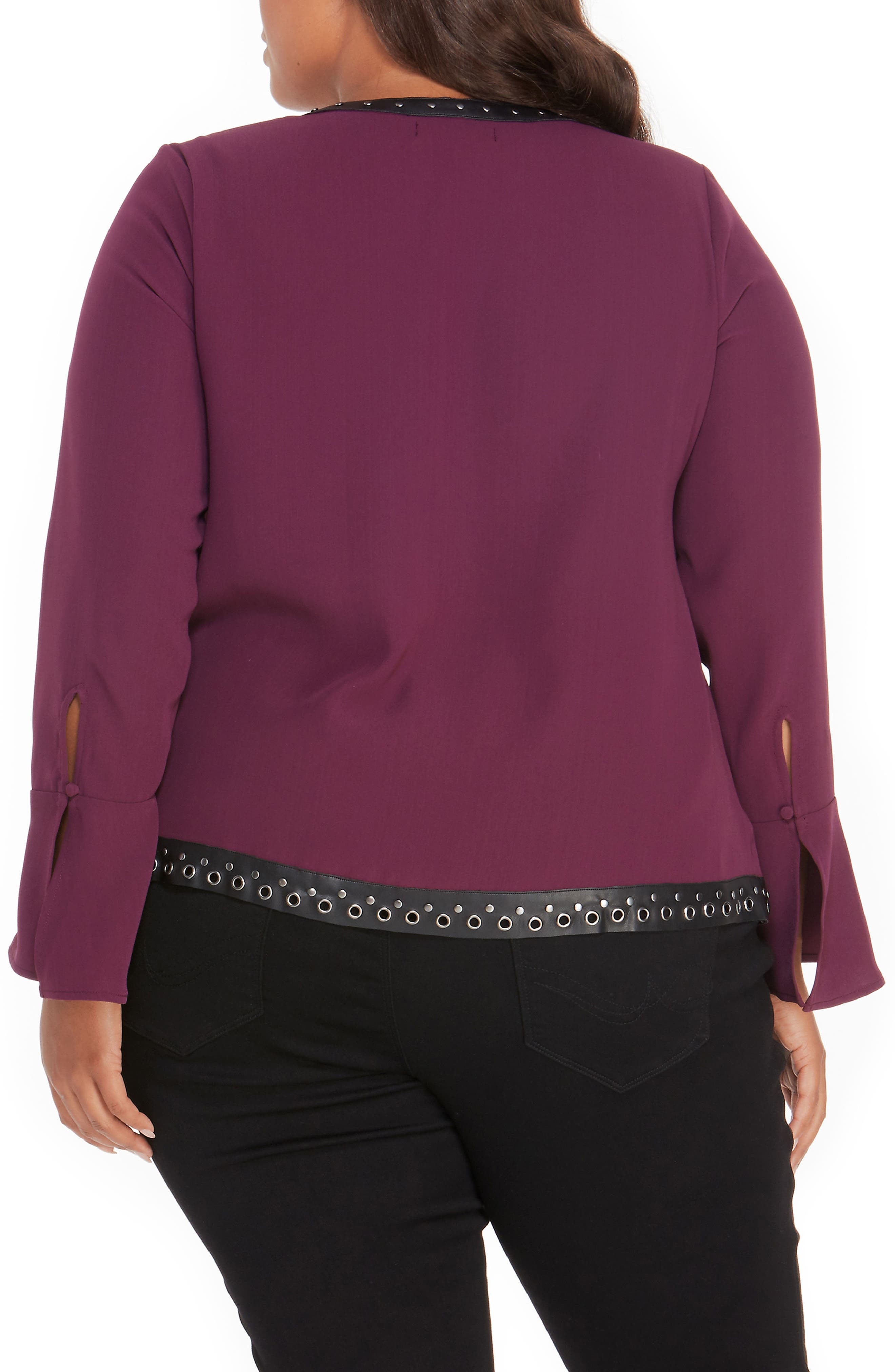 Studded Faux Leather Trim Top,                             Alternate thumbnail 6, color,