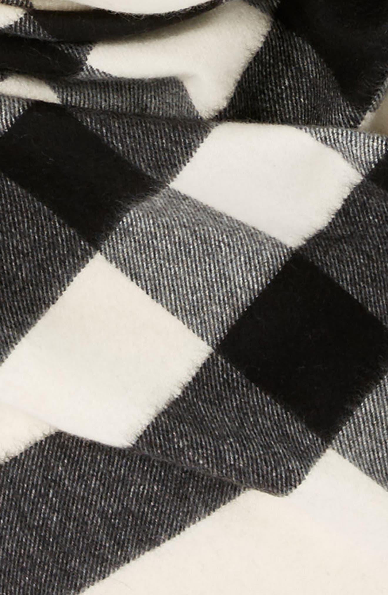 Mega Check Cashmere Scarf,                             Alternate thumbnail 4, color,                             NATURAL WHITE