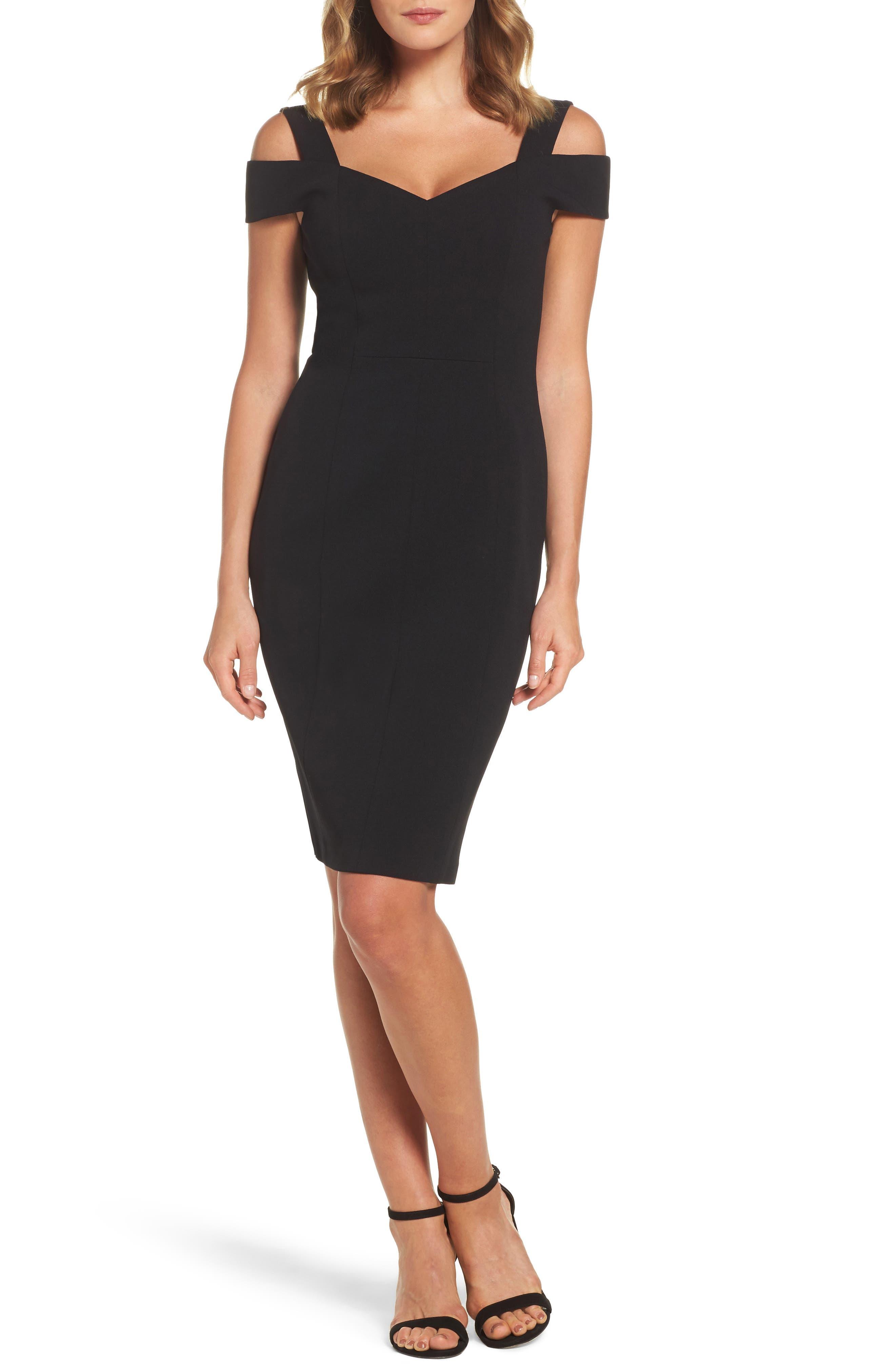 Petite Eliza J Cold Shoulder Sheath Cocktail Dress, Black