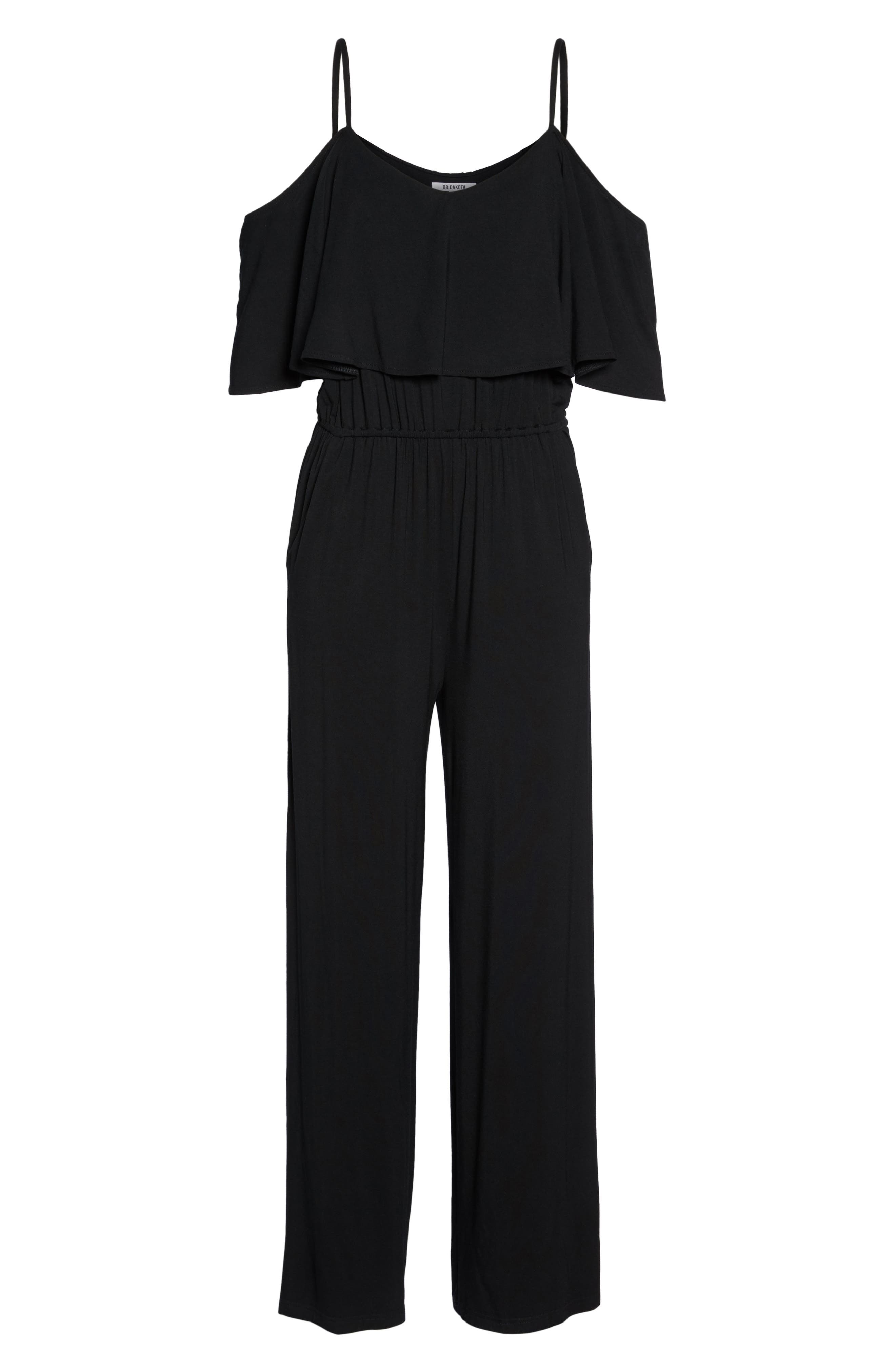Claudette Cold-Shoulder Jumpsuit,                             Alternate thumbnail 6, color,                             001