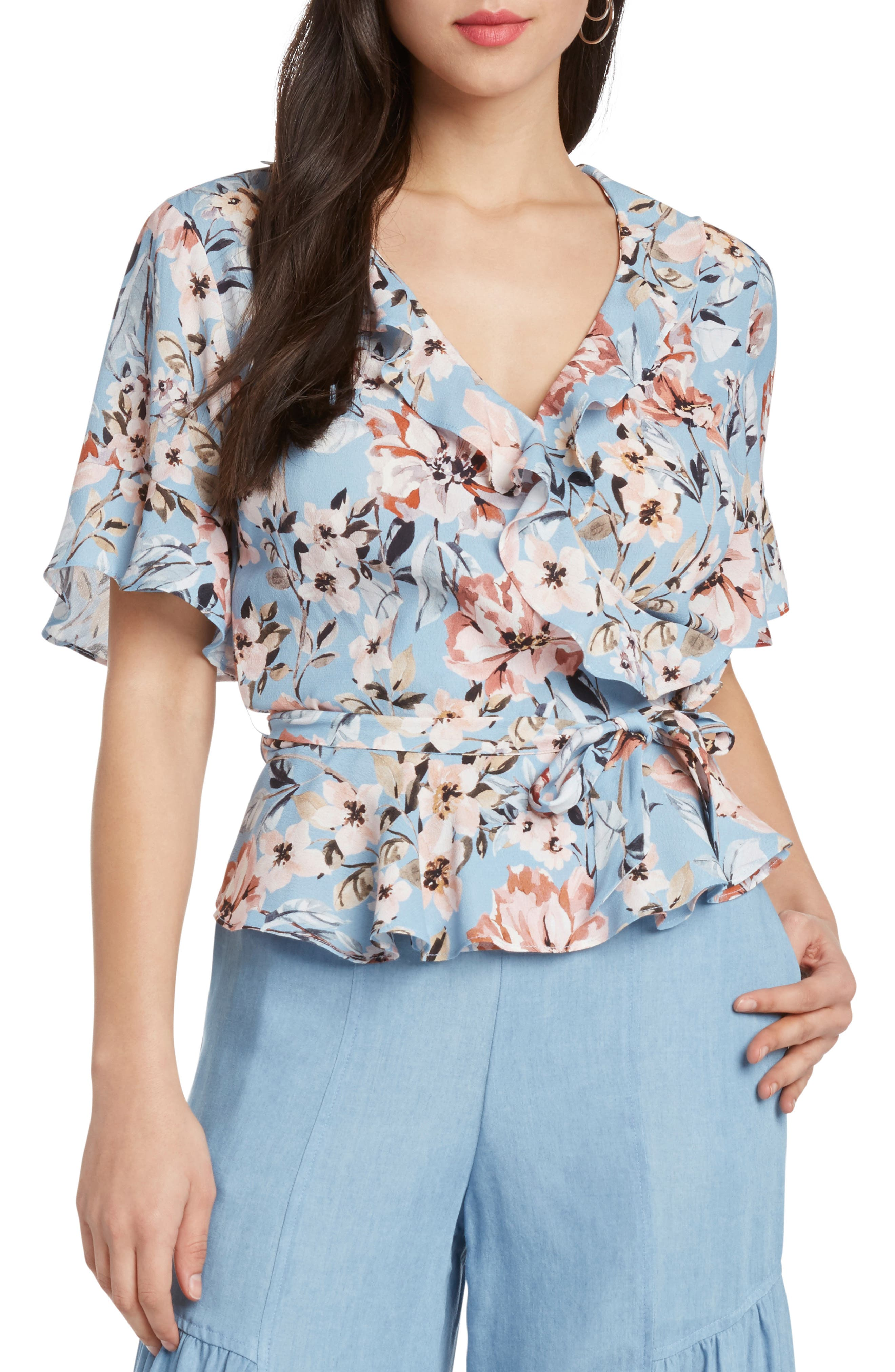 Print Floral Peplum Wrap Top,                         Main,                         color, FRENCH BLUE