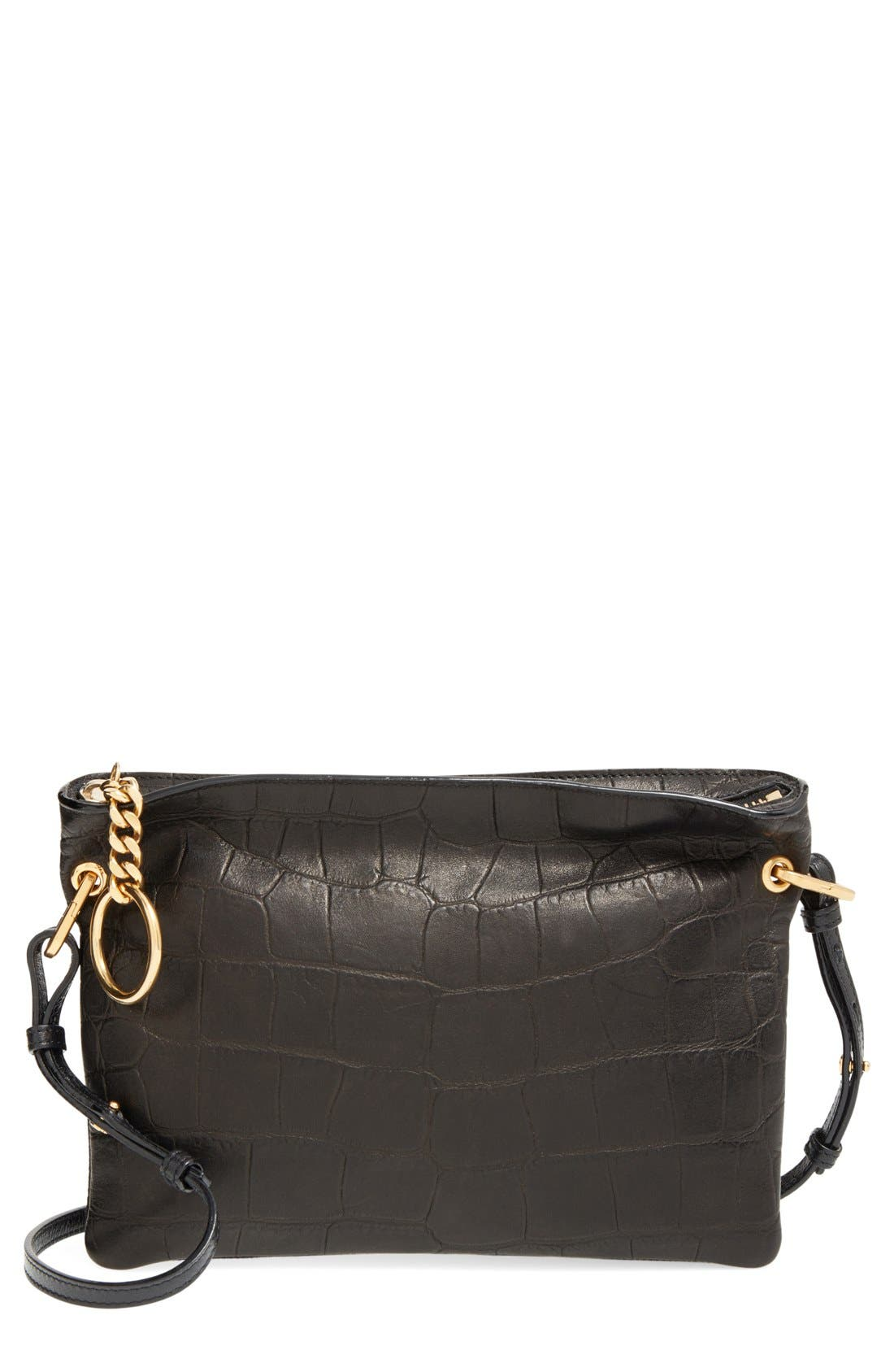 'Mardy' Croc Embossed Leather Crossbody Bag,                         Main,                         color,
