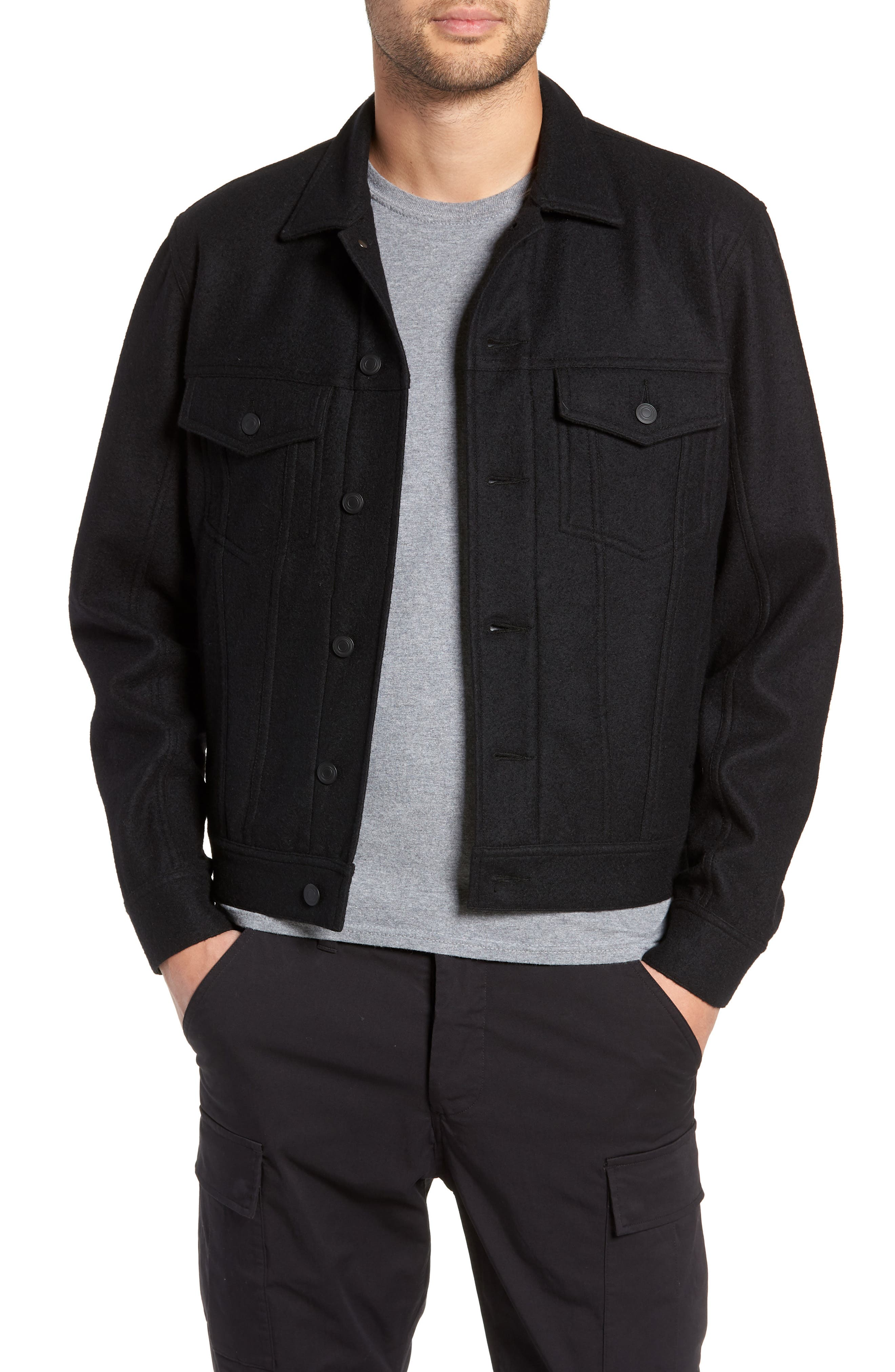 Wool Blend Trucker Jacket,                             Main thumbnail 1, color,                             BLACK