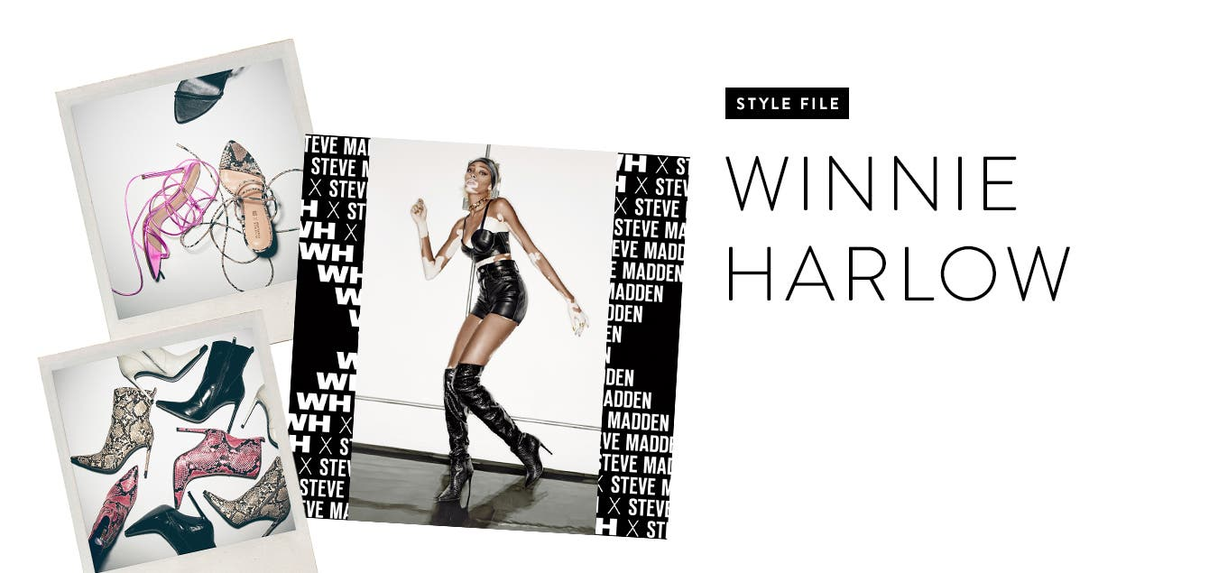 Polaroids of heels and booties from the Steve Madden x Winnie Harlow collection.