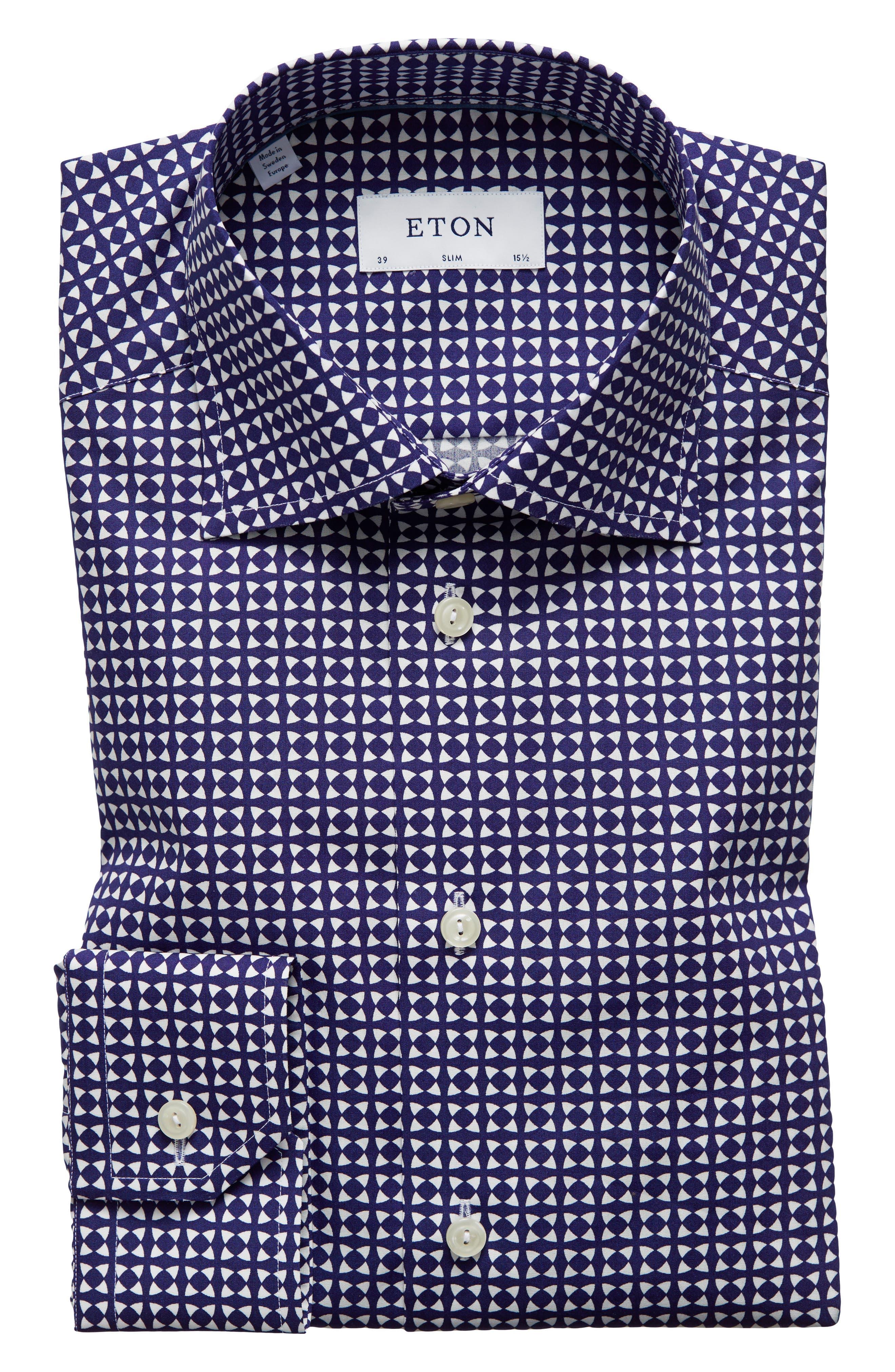Slim Fit Geometric Dress Shirt,                         Main,                         color, BLUE