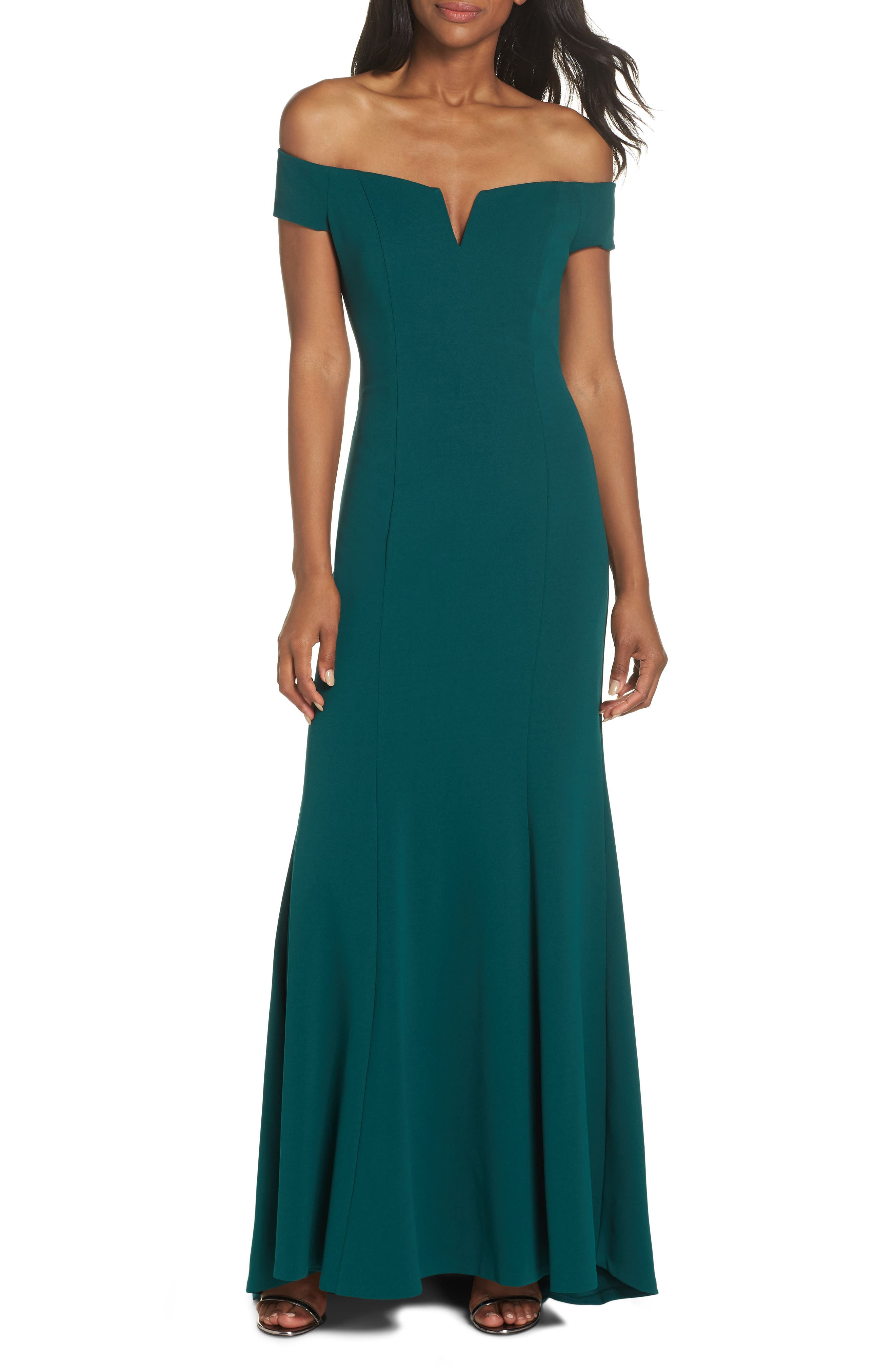 Notched Off the Shoulder Trumpet Gown,                         Main,                         color, EMERALD