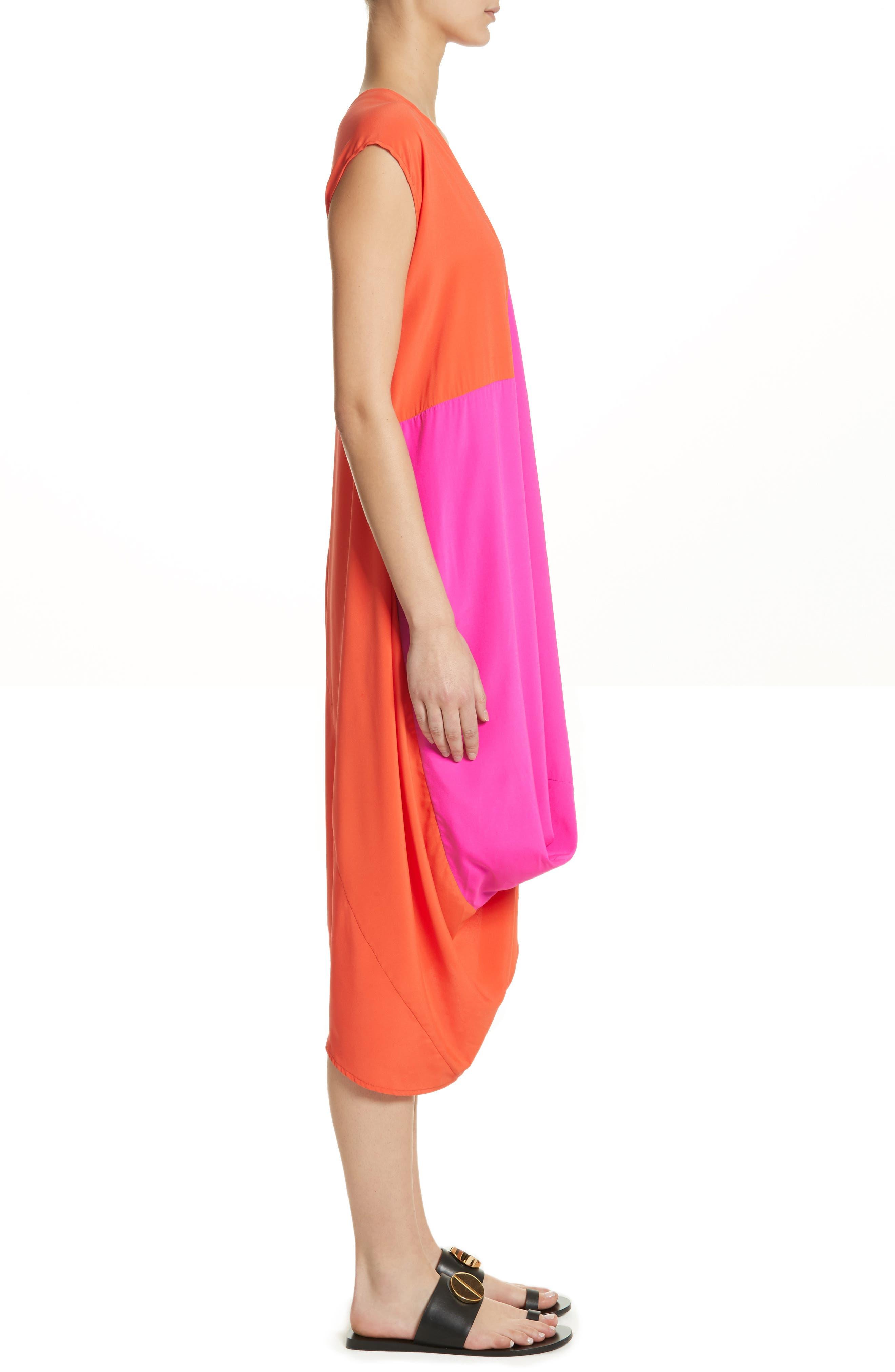Colorblock Drape Silk Blend Dress,                             Alternate thumbnail 3, color,                             650