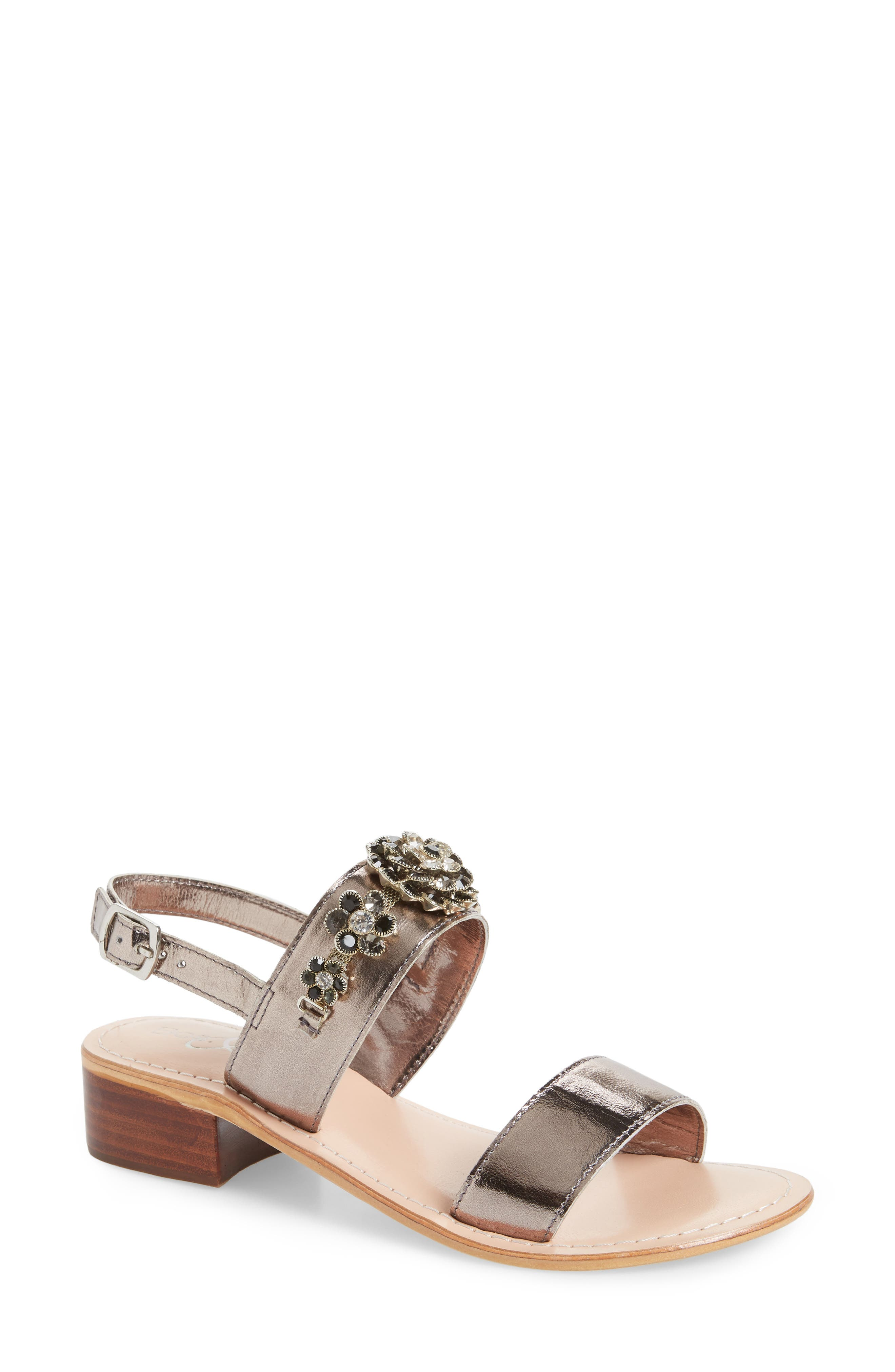 Wand Embellished Slingback Sandal,                             Main thumbnail 1, color,                             PEWTER/ ANTHRACITE LEATHER