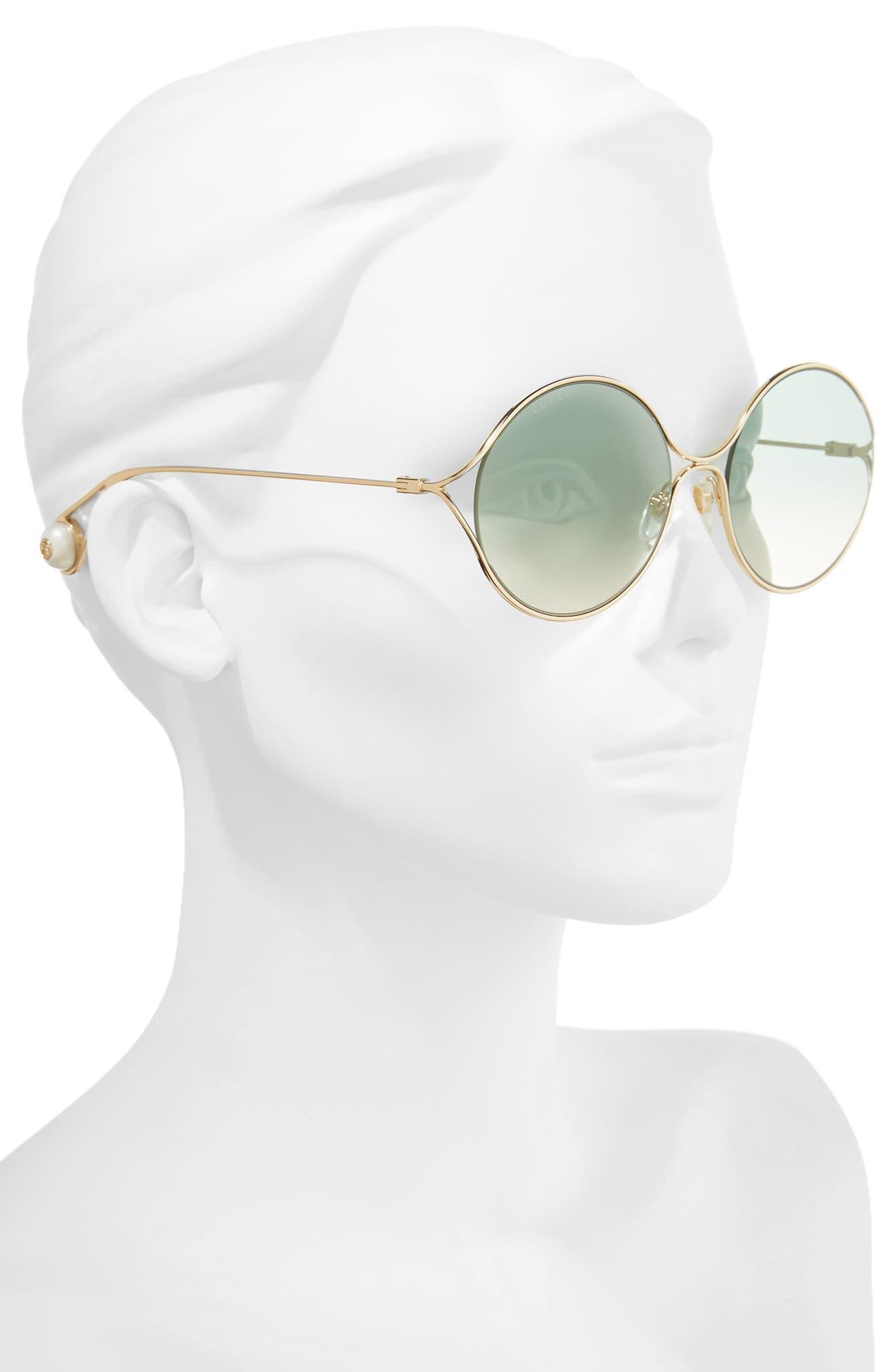 58mm Gradient Lens Round Sunglasses,                             Alternate thumbnail 2, color,                             GOLD/ SAGE/ PINK