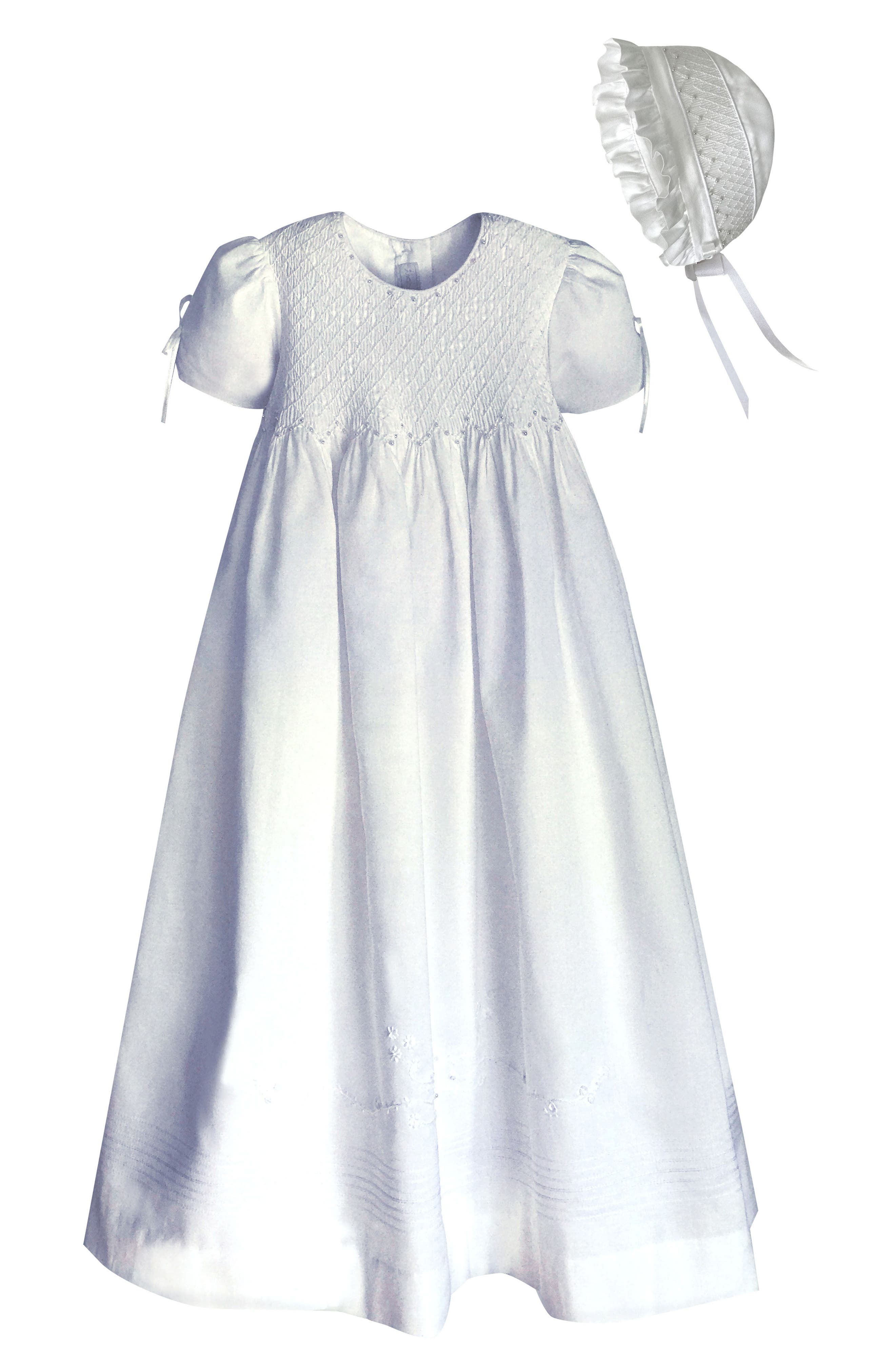 'Pearls' Christening Gown & Bonnet,                             Main thumbnail 1, color,                             WHITE