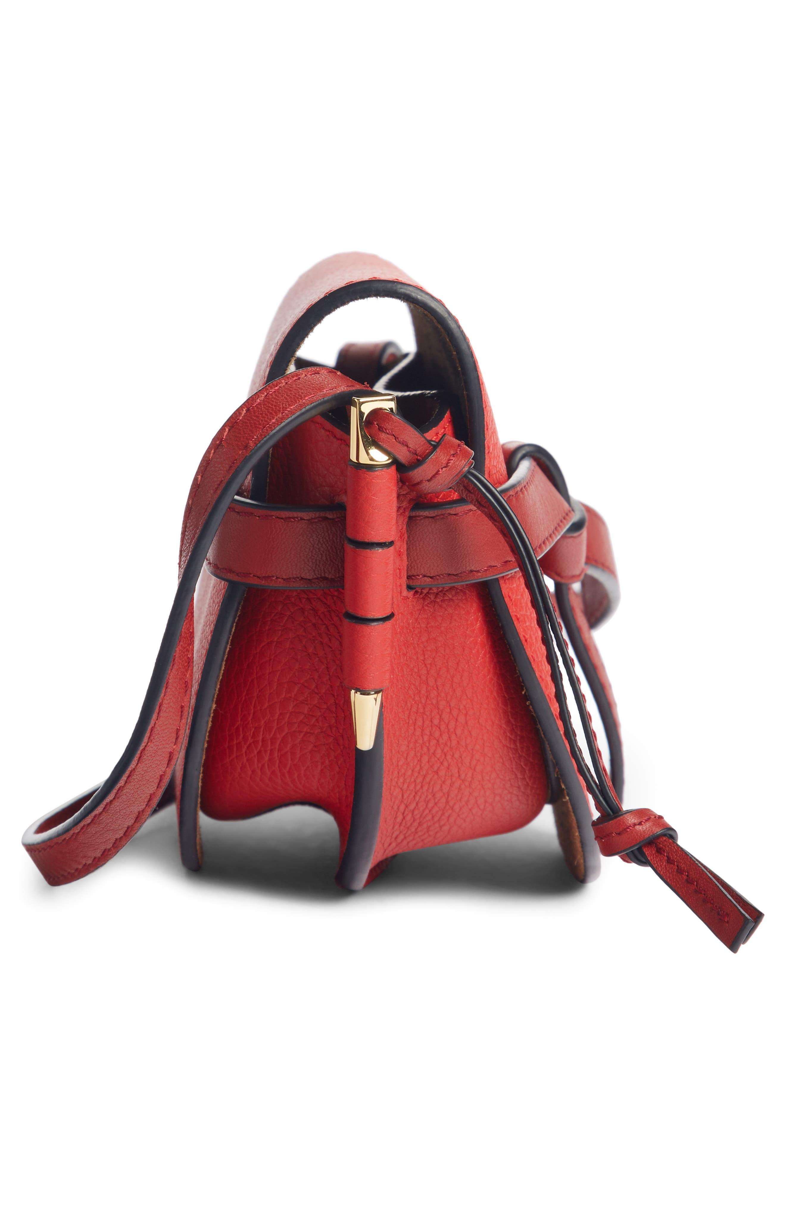 Small Gate Leather Crossbody Bag,                             Alternate thumbnail 4, color,                             SCARLET RED/ BURNT RED