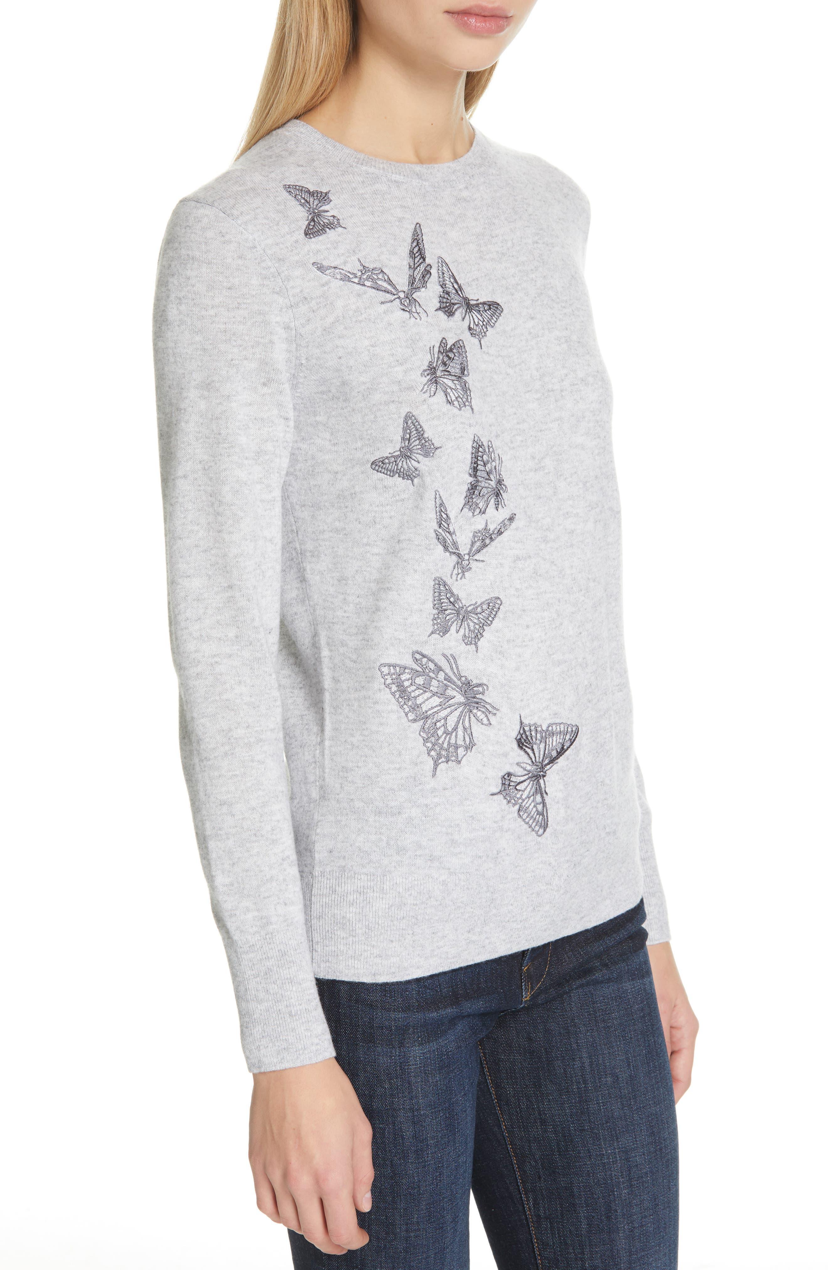 TED BAKER LONDON,                             Redinn Butterfly Sweater,                             Alternate thumbnail 4, color,                             GREY