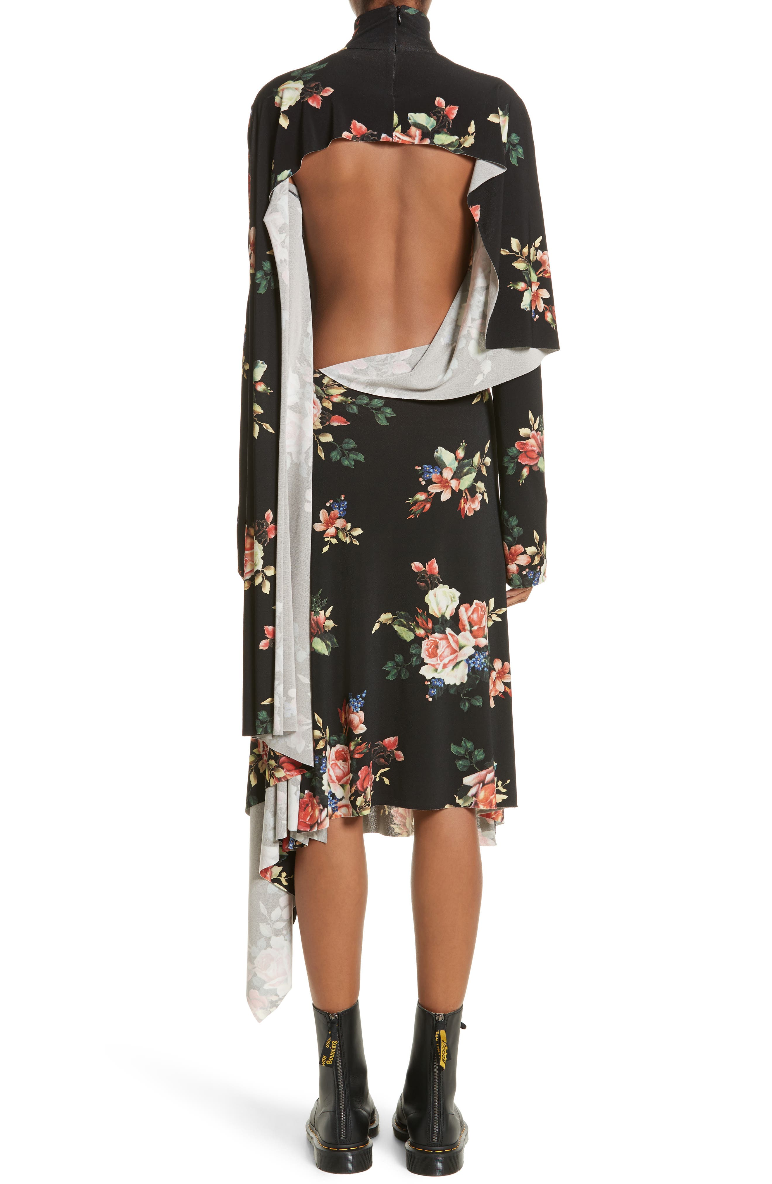 Drape Panel Floral Dress,                             Alternate thumbnail 2, color,