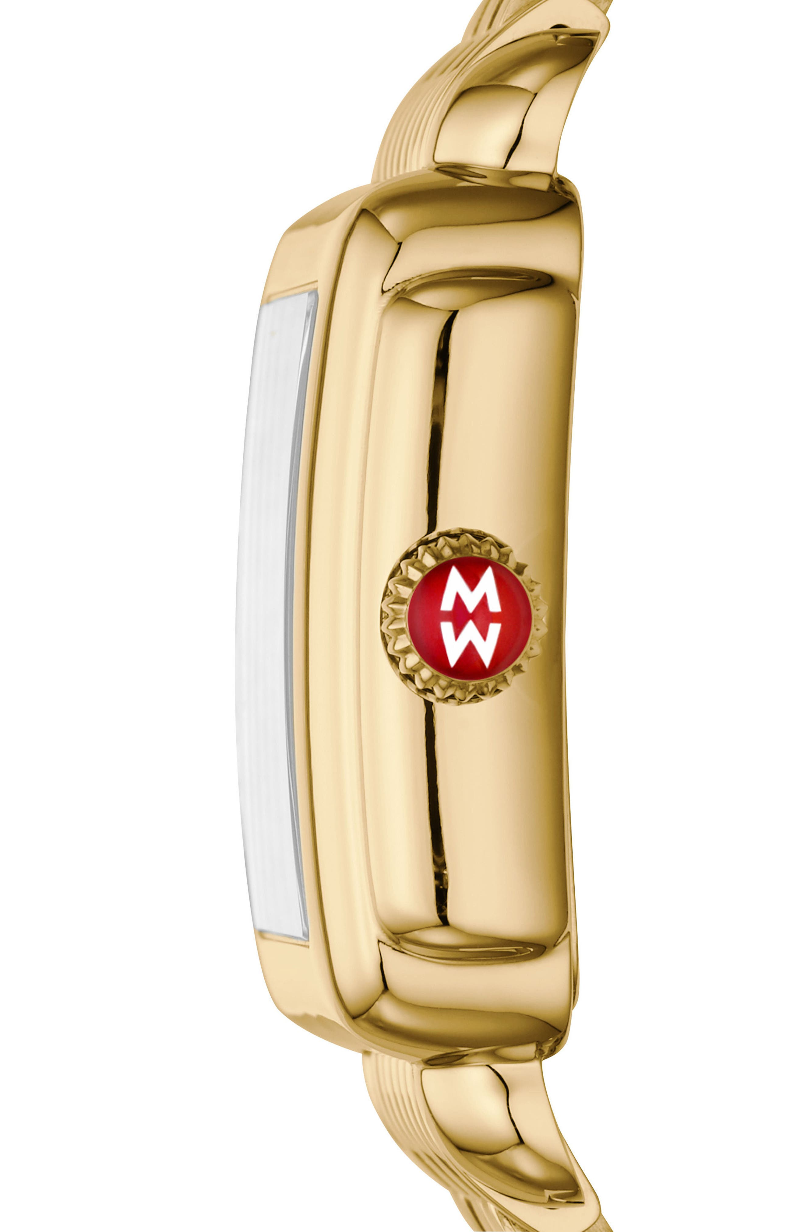 Deco Mosaic Square Watch Head, 33mm x 35mm,                             Alternate thumbnail 3, color,                             GOLD/ MOP