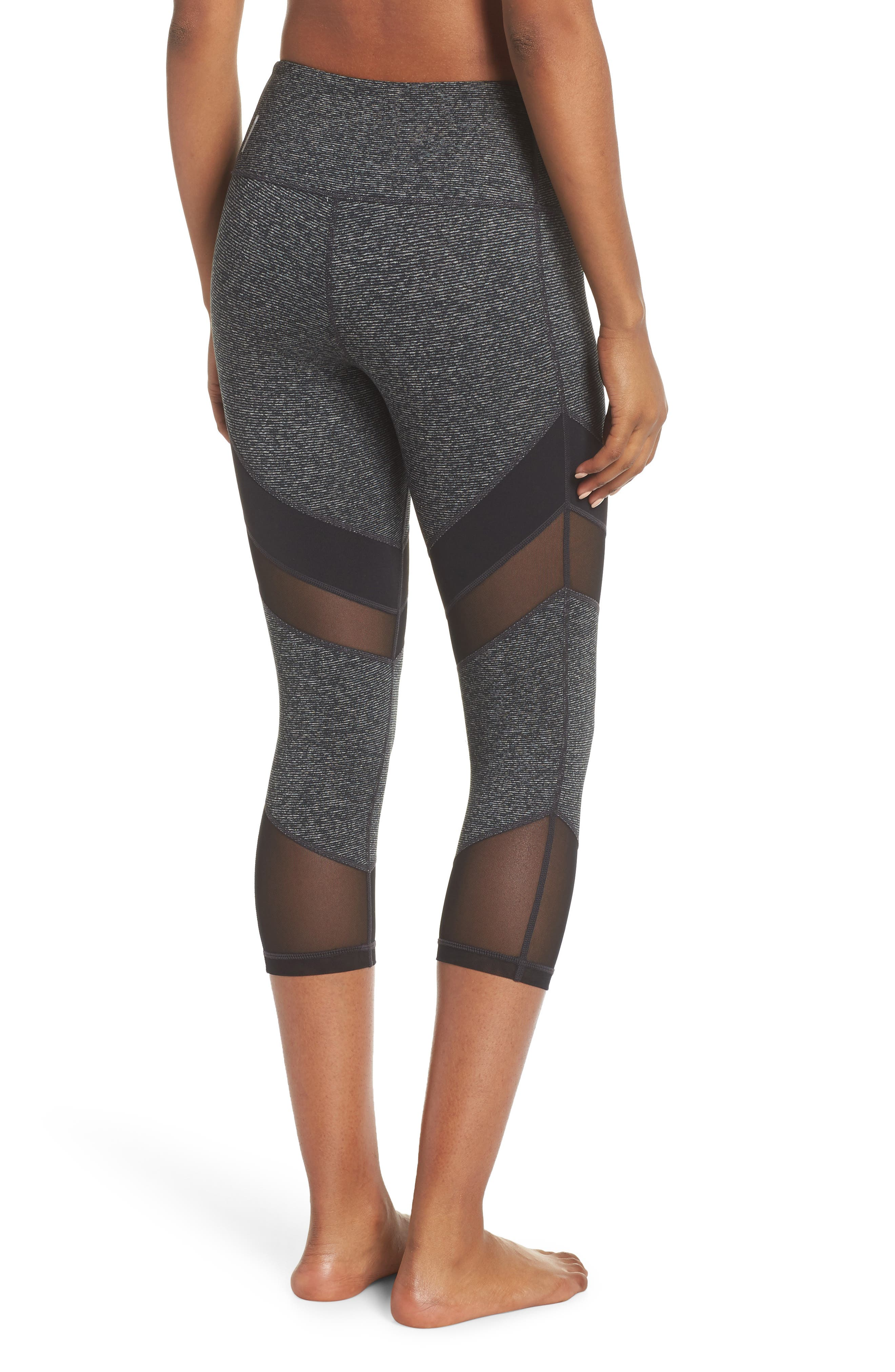Live in Electric Mix Essential Mesh Crop Leggings,                             Alternate thumbnail 2, color,                             001