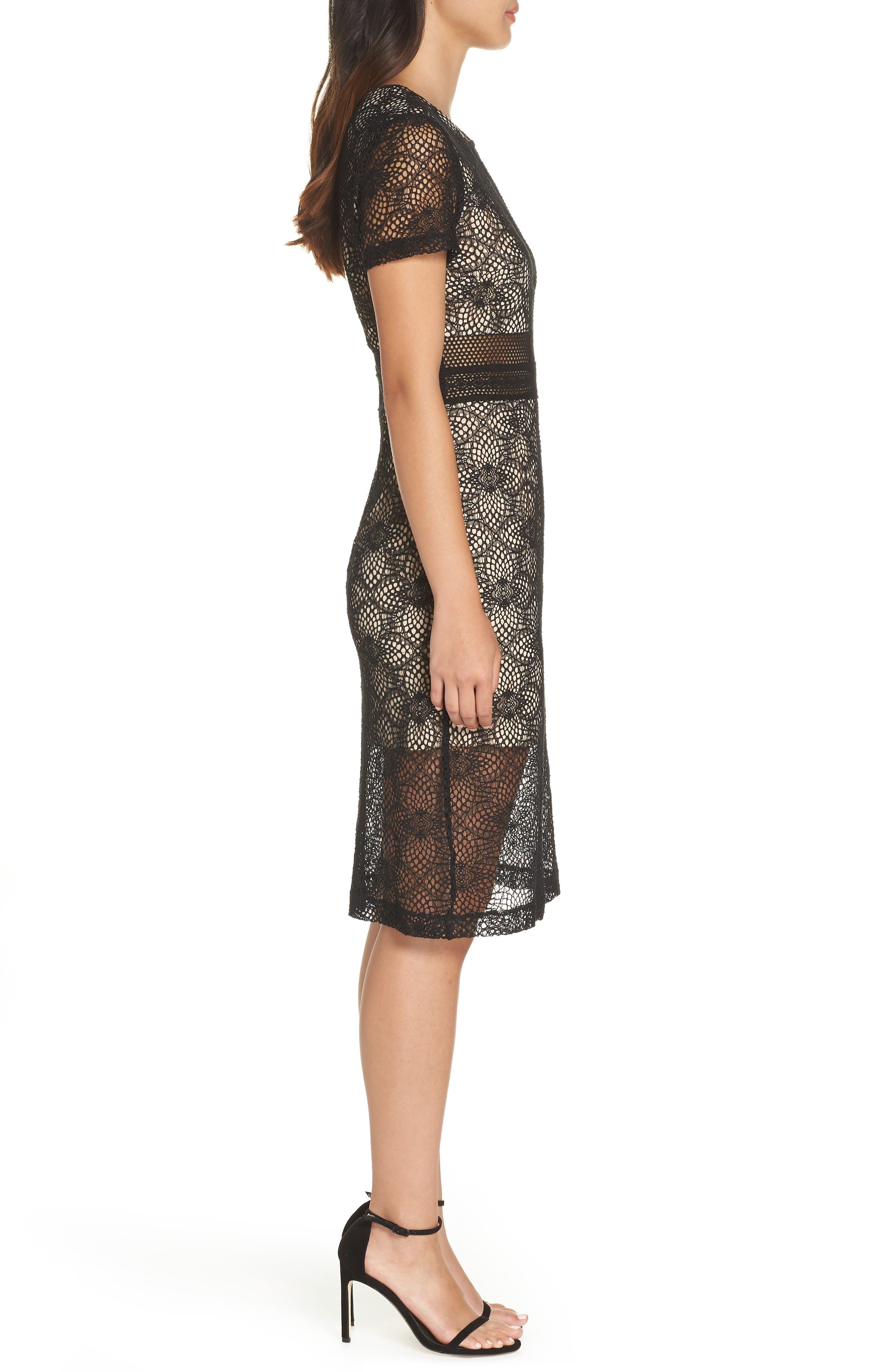 Juliette Lace Sheath Dress,                             Alternate thumbnail 3, color,                             BLACK