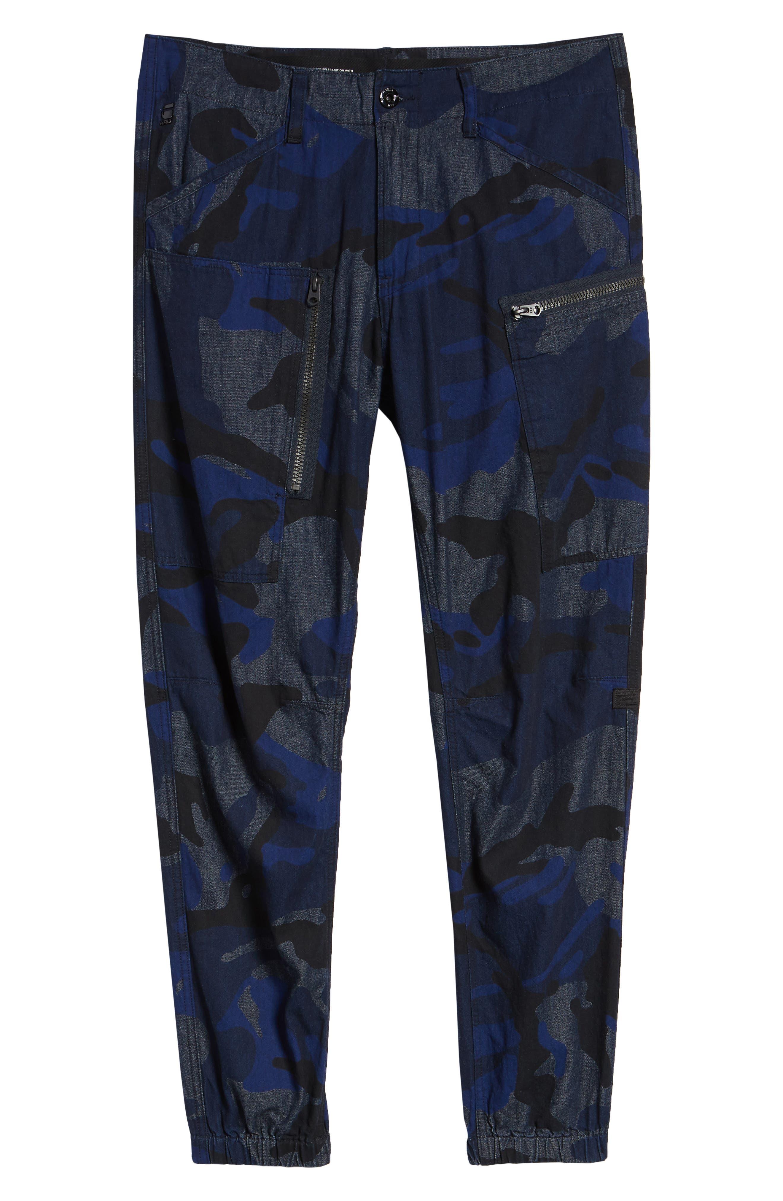 Powel Tapered Pants,                             Alternate thumbnail 6, color,                             RAW DENIM/ PHANTOM BLUE