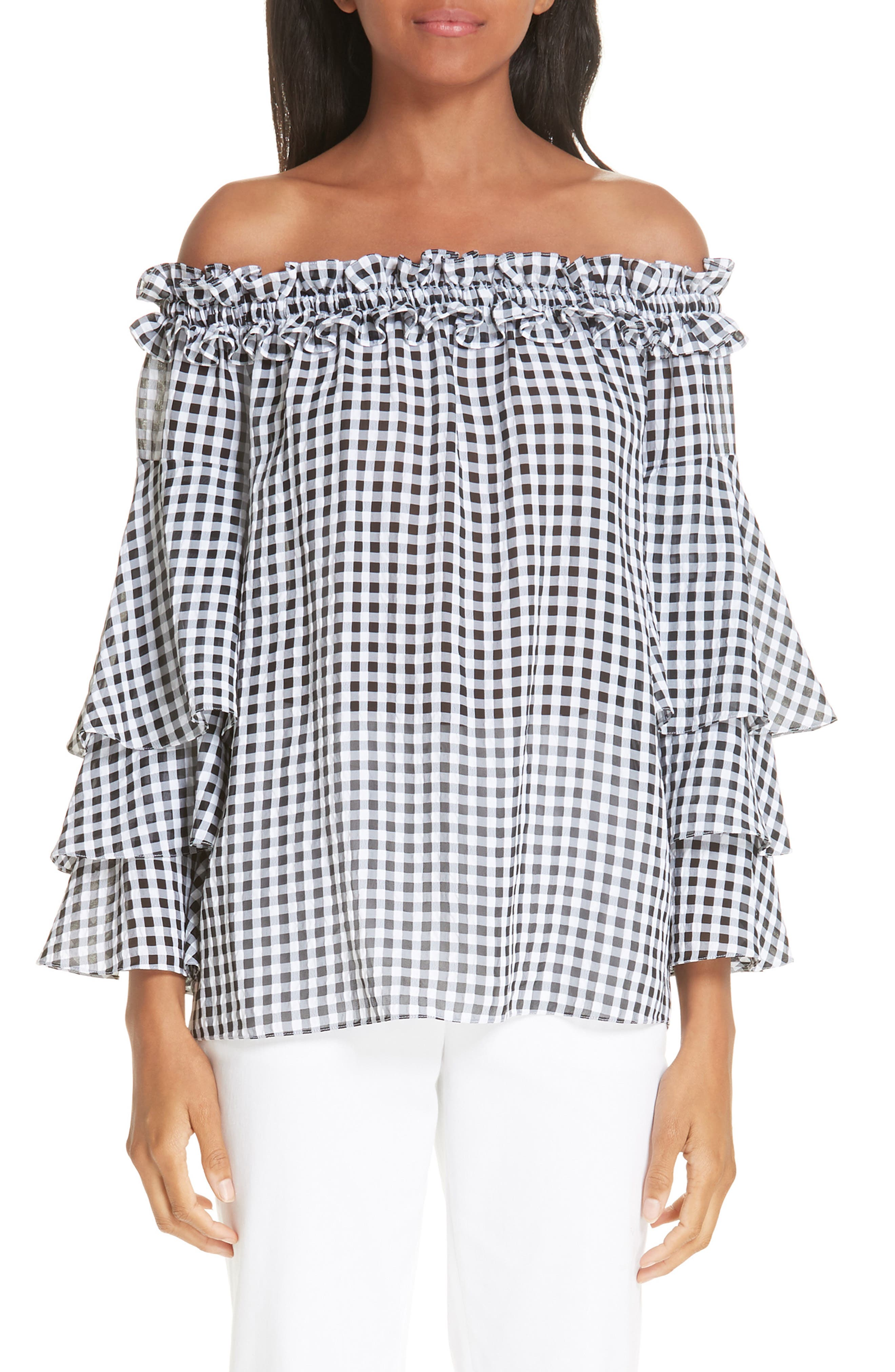 Gingham Tiered Sleeve Off the Shoulder Top,                             Main thumbnail 1, color,                             BLACK/ OPTIC WHITE