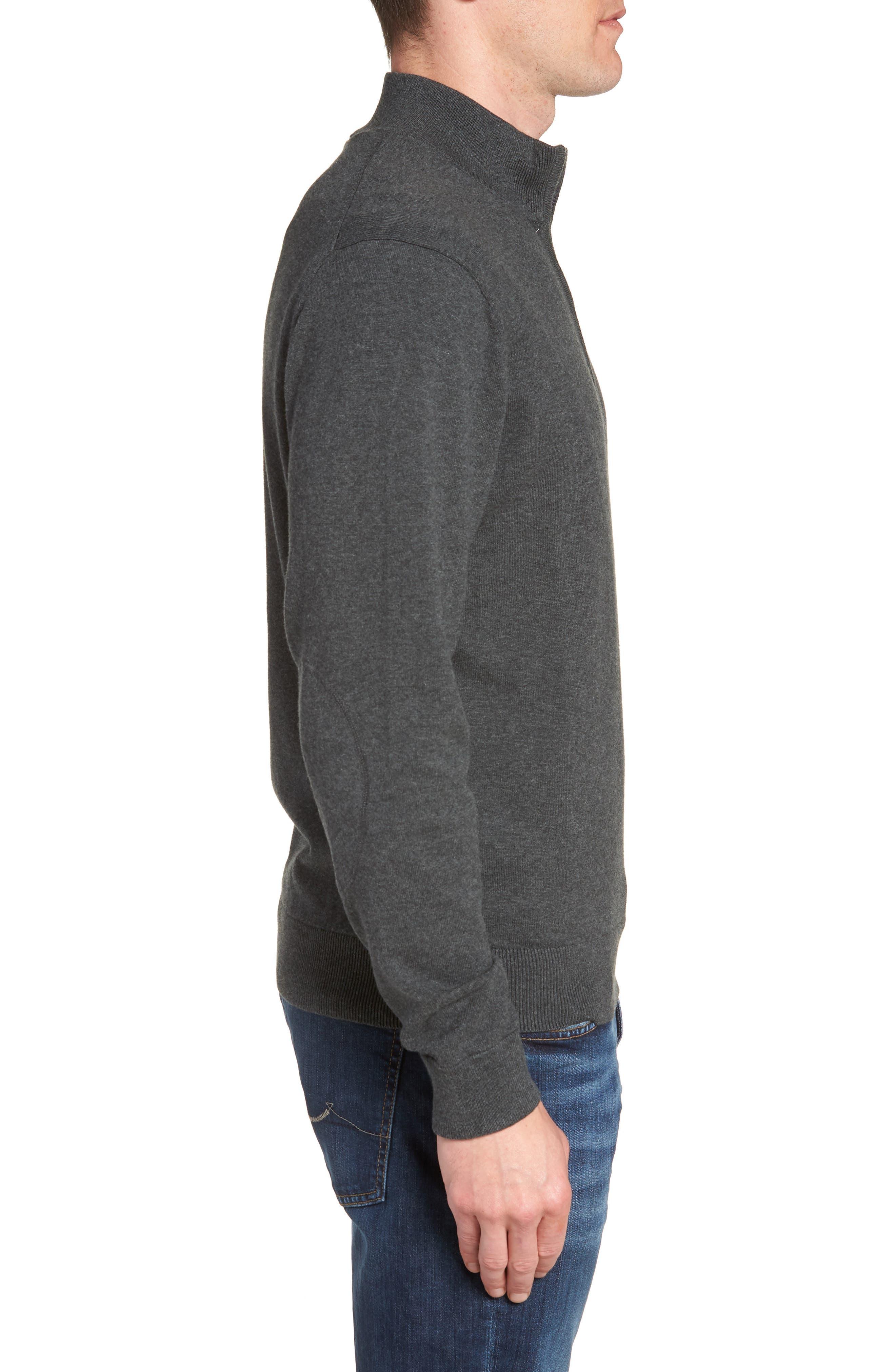 Houston Texans - Lakemont Regular Fit Quarter Zip Sweater,                             Alternate thumbnail 3, color,                             CHARCOAL HEATHER