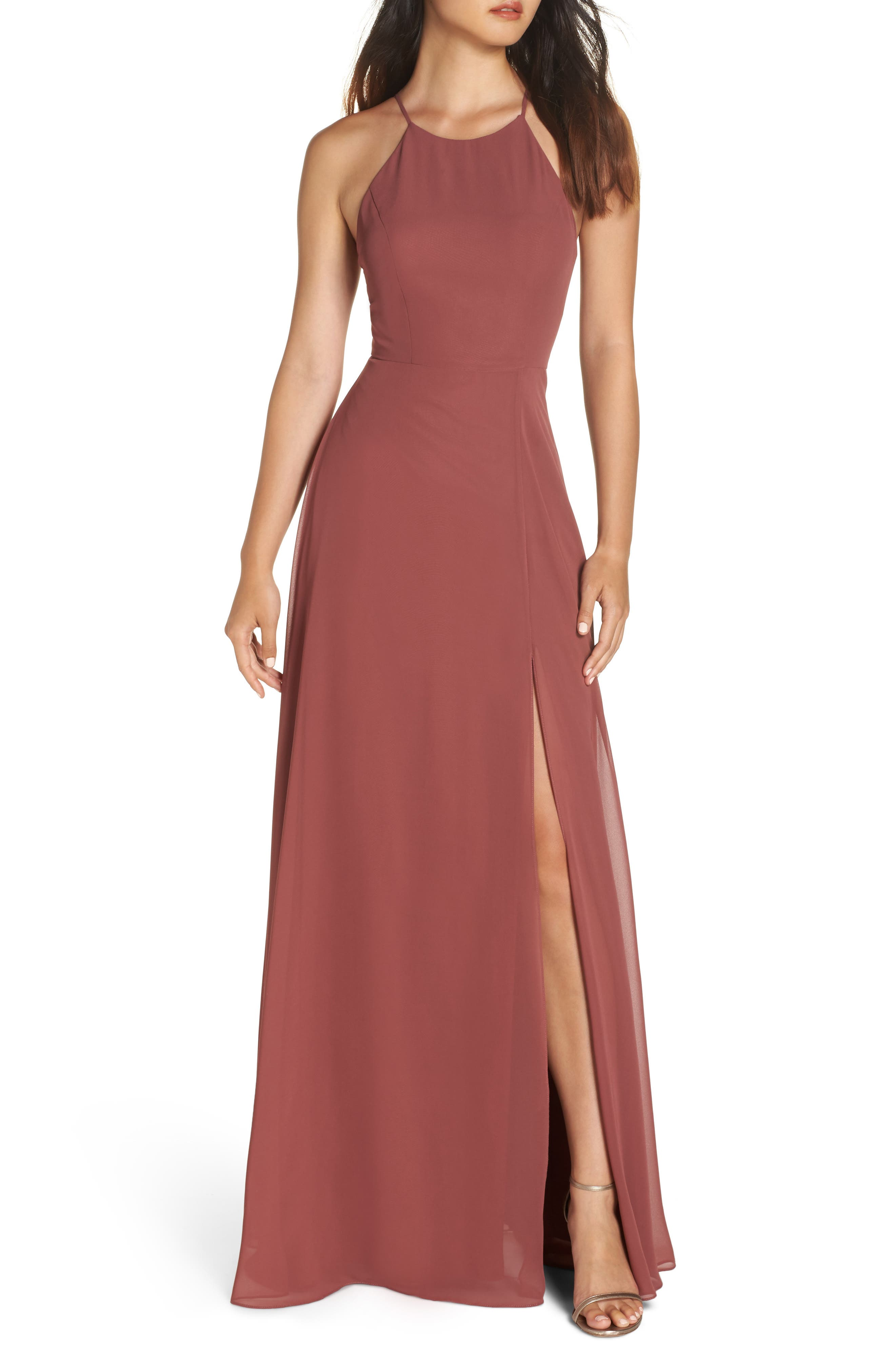 Kayla A-Line Halter Gown,                         Main,                         color, CINNAMON ROSE