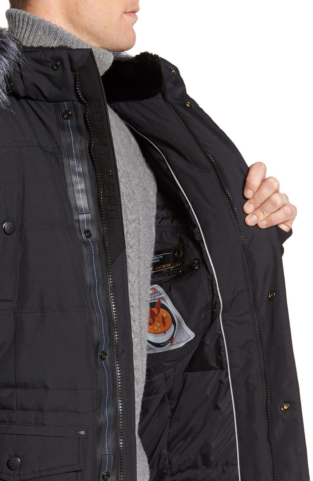 Down Jacket with Faux Fur Trim,                             Alternate thumbnail 3, color,                             001