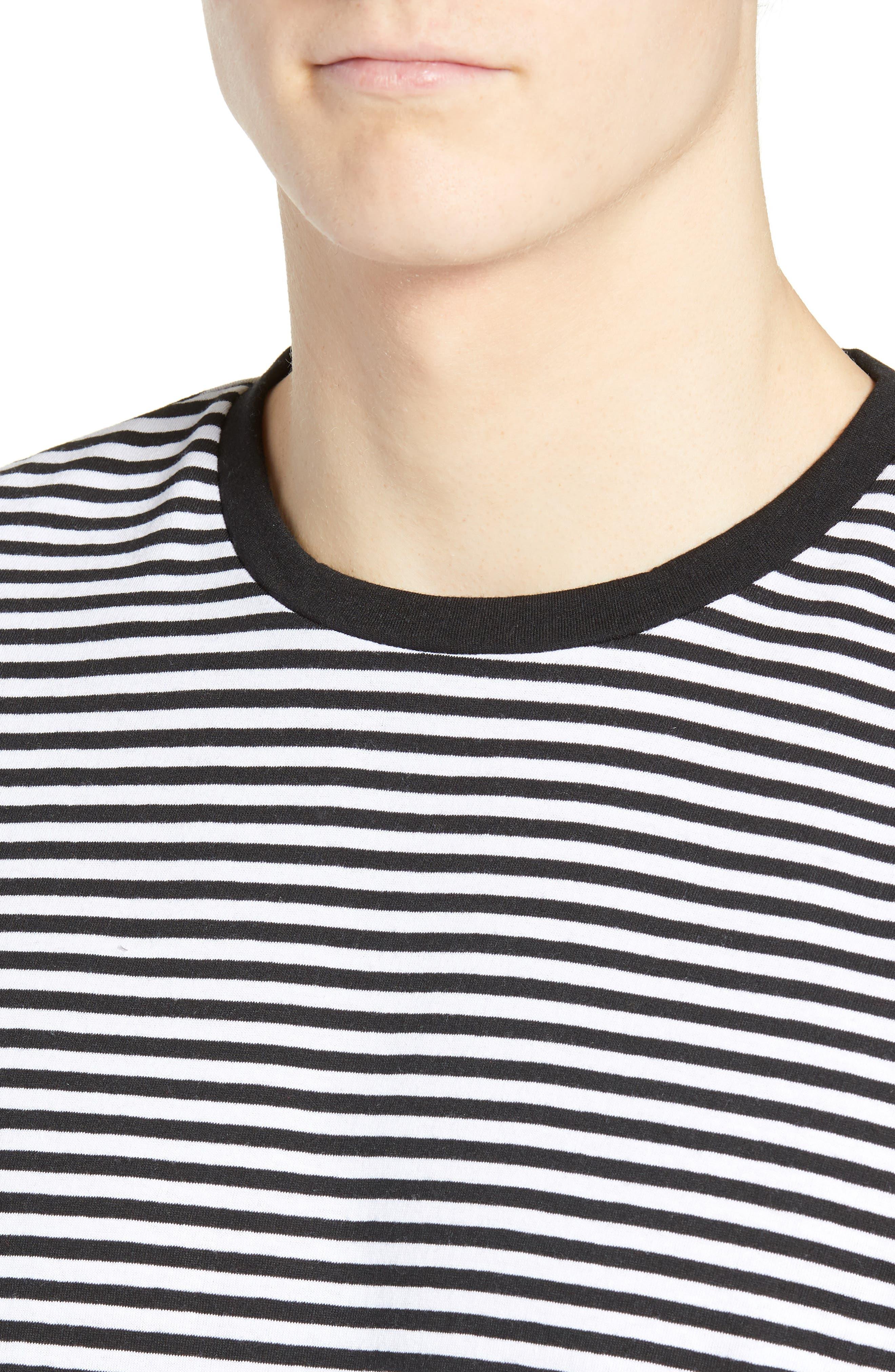 Stripe Crewneck T-Shirt,                             Alternate thumbnail 4, color,                             BLACK ROCK - WHITE STRIPE