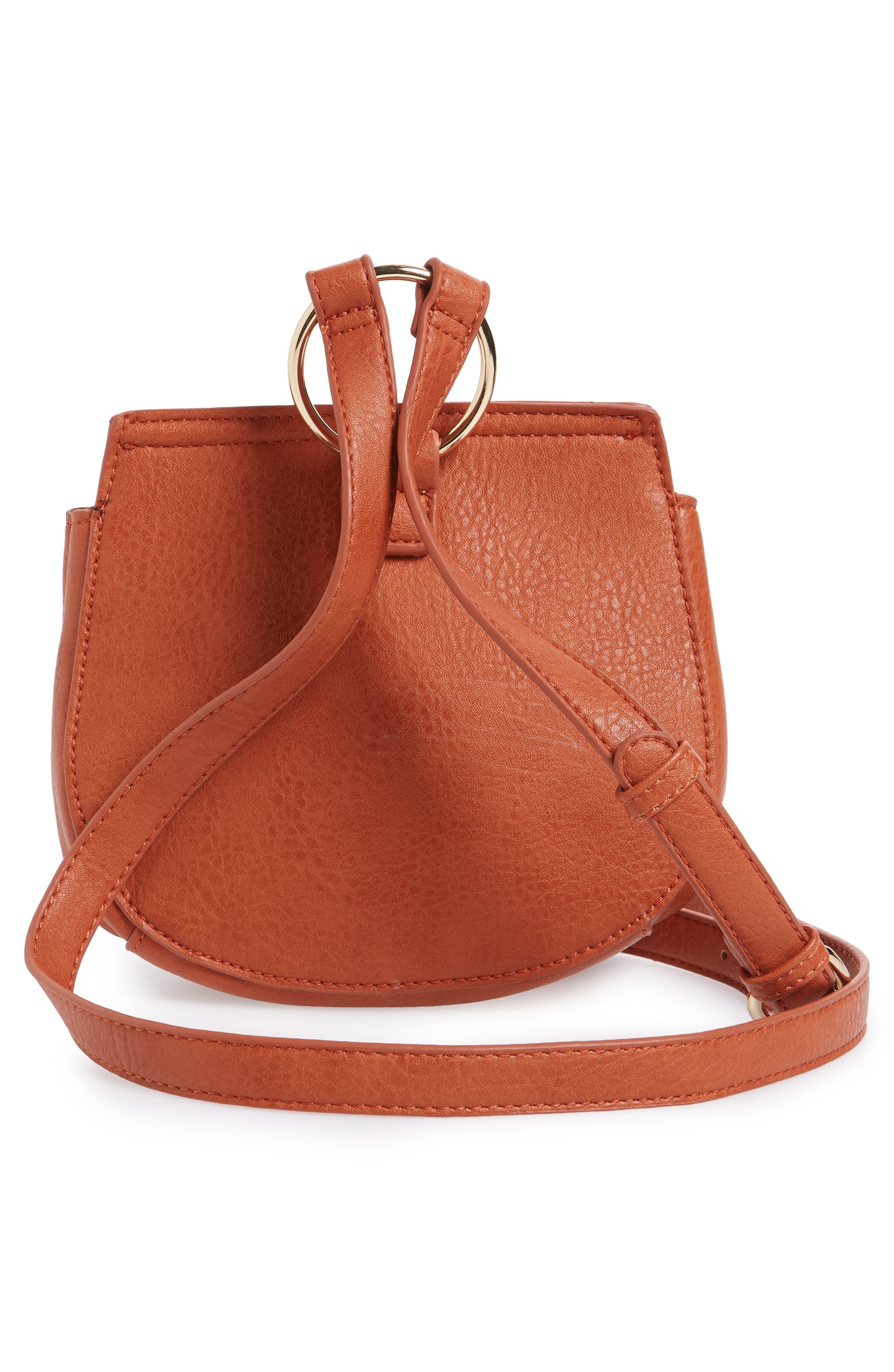 Tassel Faux Leather Crossbody Saddle Bag,                             Alternate thumbnail 6, color,