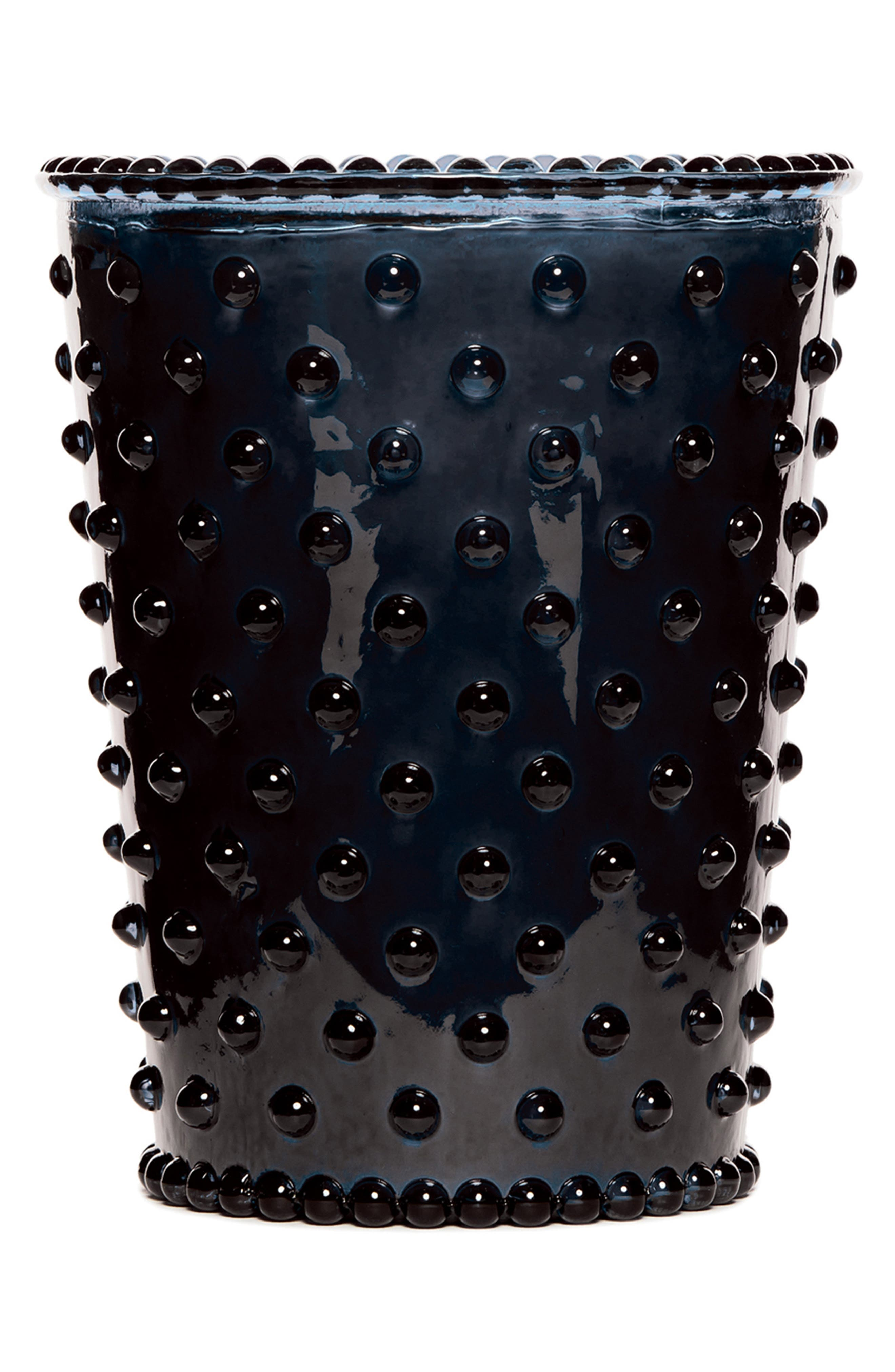 SIMPATICO,                             Hobnail Glass Candle,                             Main thumbnail 1, color,                             MIDNIGHT