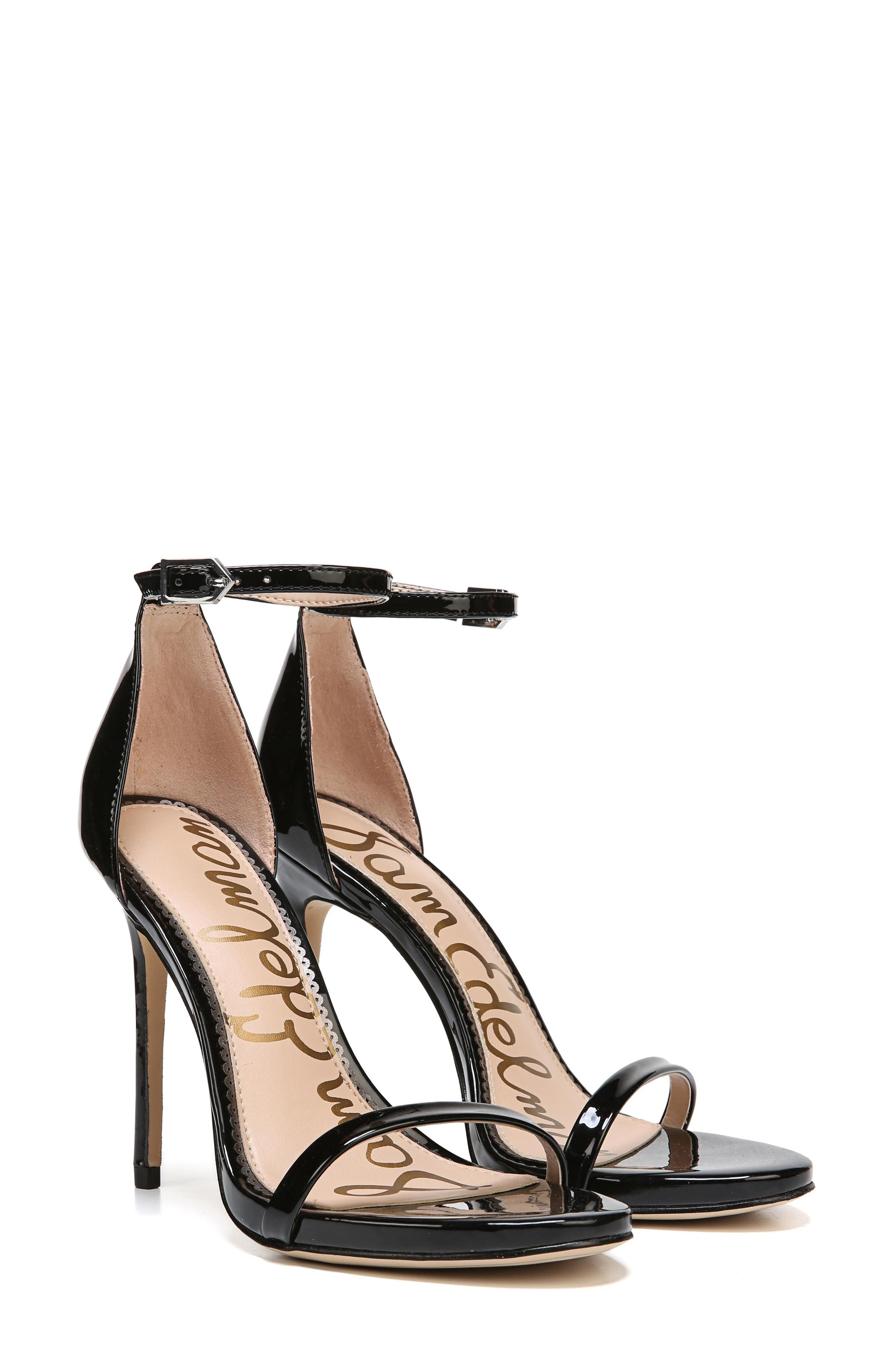 Ariella Ankle Strap Sandal,                             Alternate thumbnail 8, color,                             BLACK PATENT LEATHER