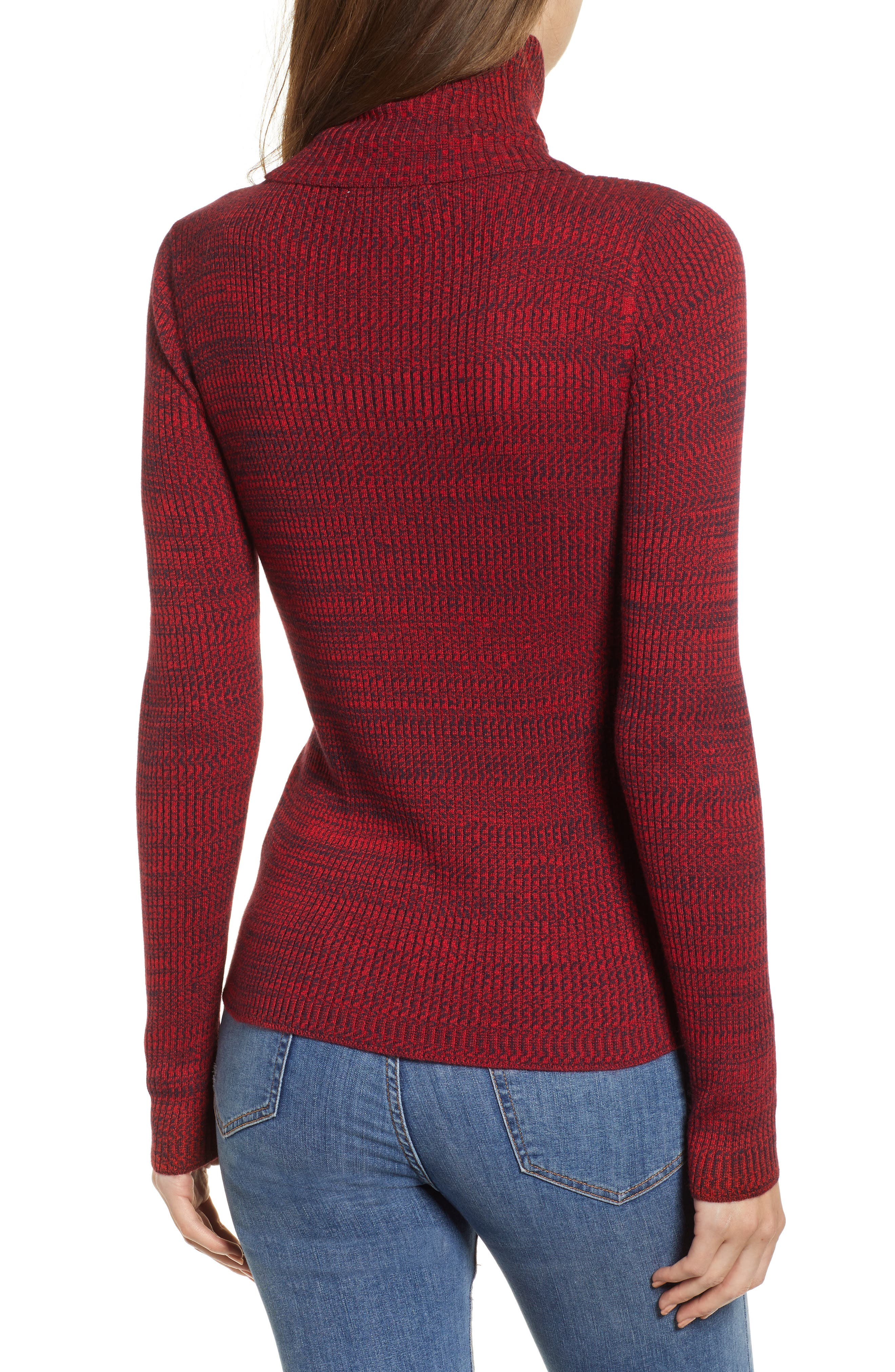 Space Dye Turtleneck Sweater,                             Alternate thumbnail 2, color,                             RED CHINOISE COMBO