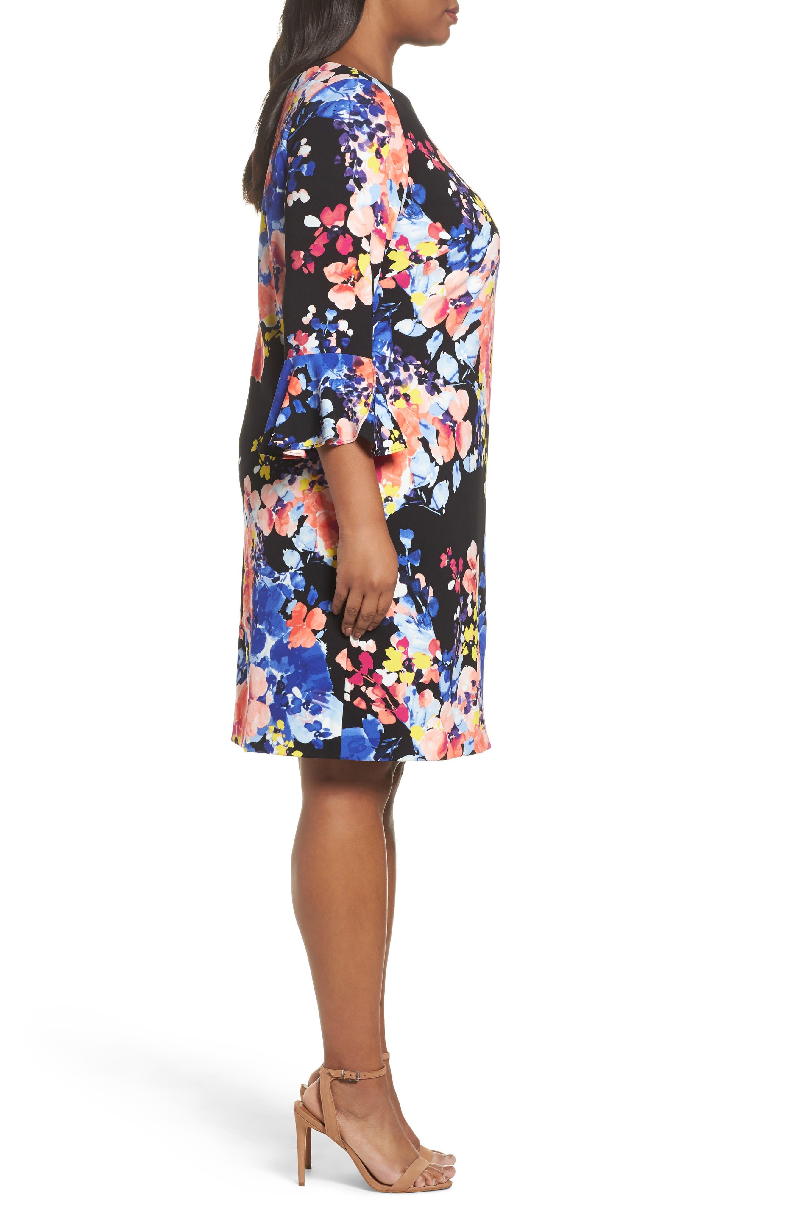 Print Ruffle Sleeve Shift Dress,                             Alternate thumbnail 3, color,                             017