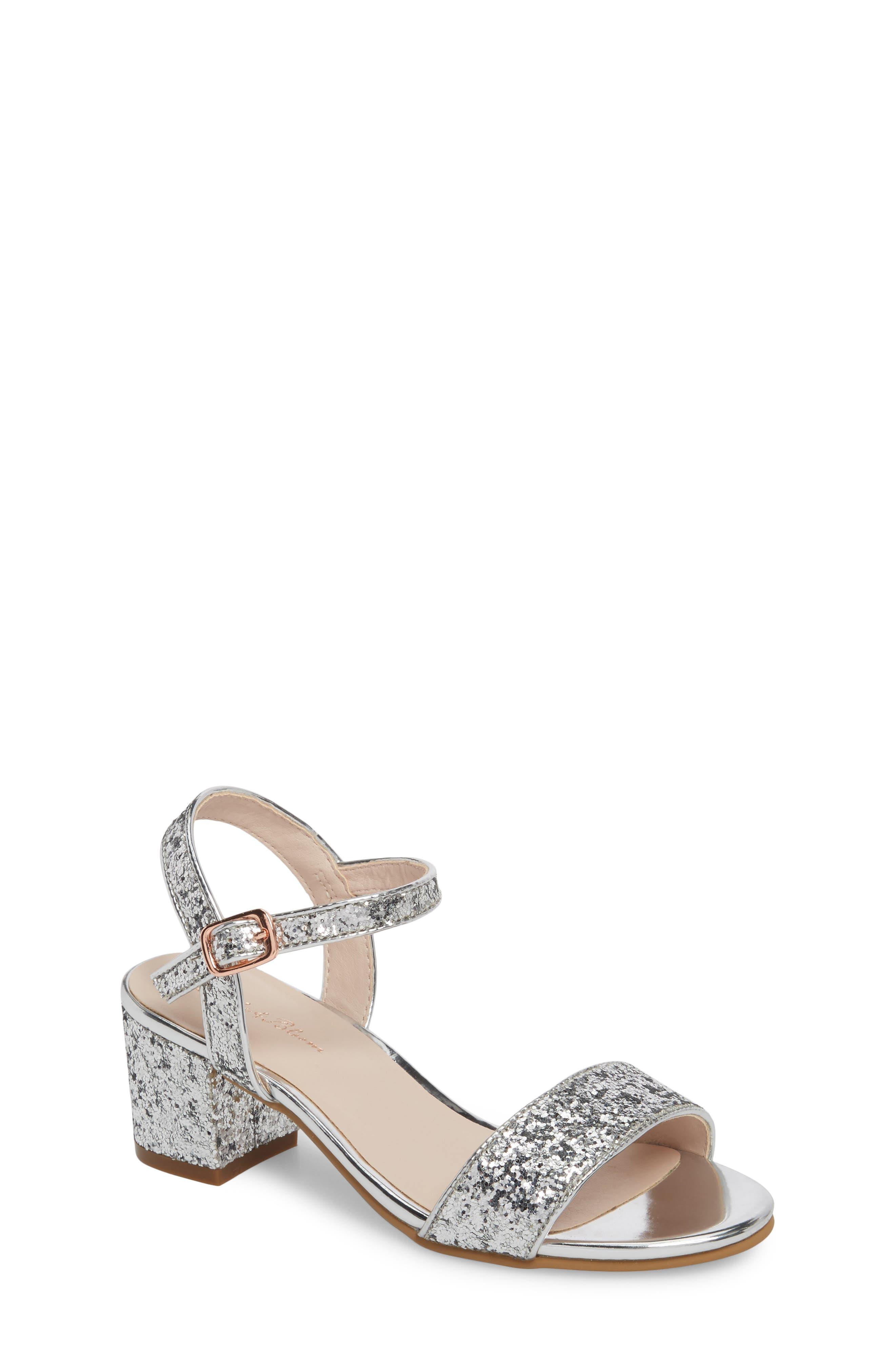 Danni Block Heel Sandal,                         Main,                         color, SILVER GLITTER