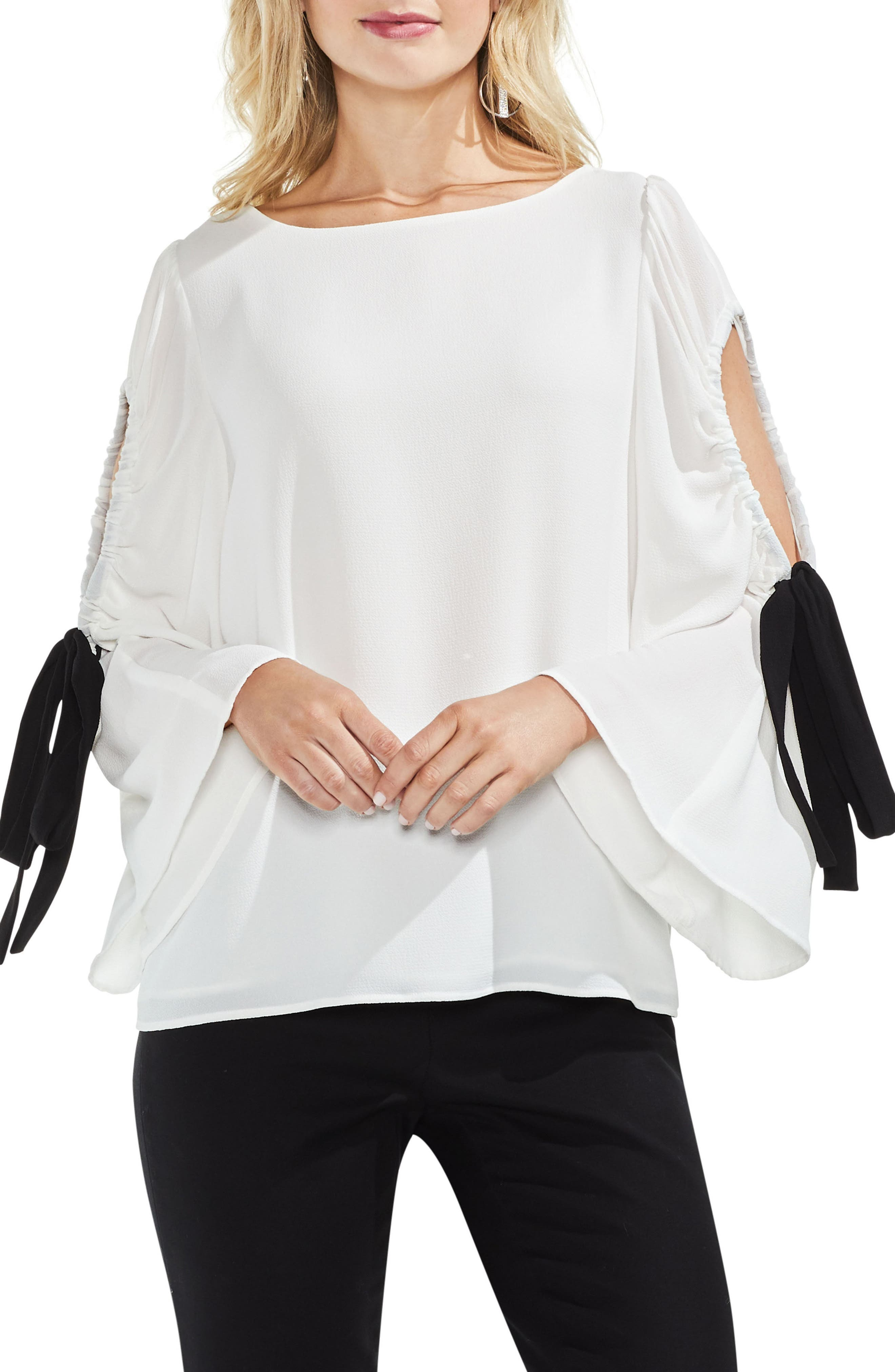 Bell Sleeve Contrast Tie Cold Shoulder Top,                             Main thumbnail 2, color,