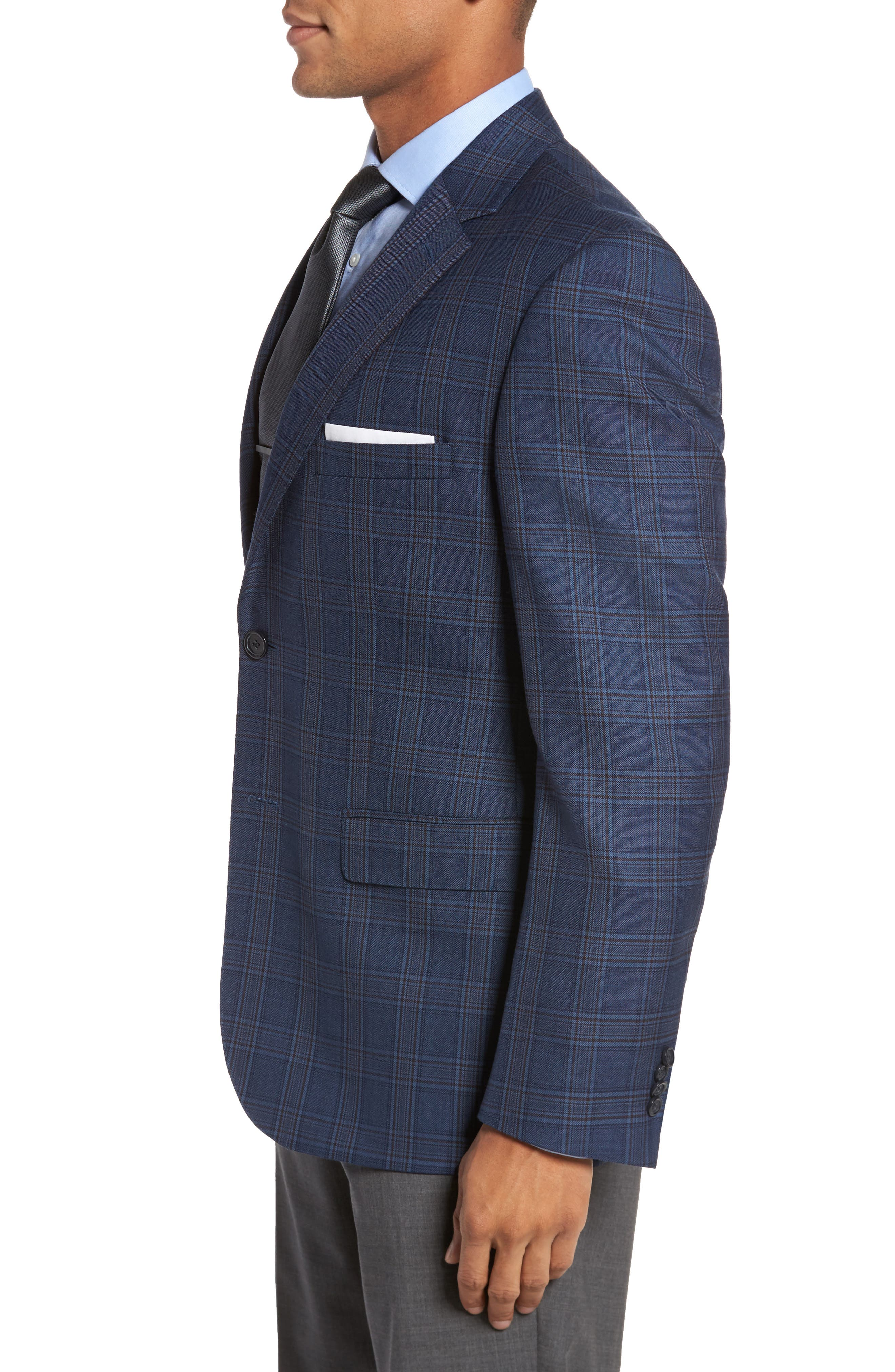Classic Fit Plaid Wool Sport Coat,                             Alternate thumbnail 3, color,                             422