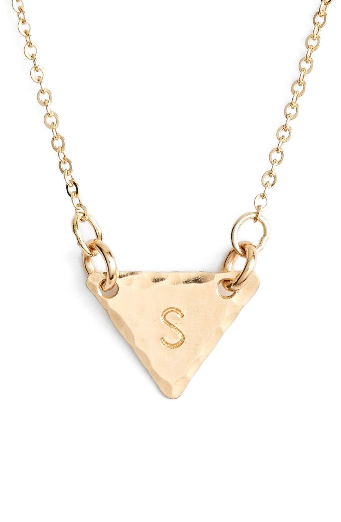 14k-Gold Fill Initial Triangle Necklace,                             Main thumbnail 19, color,