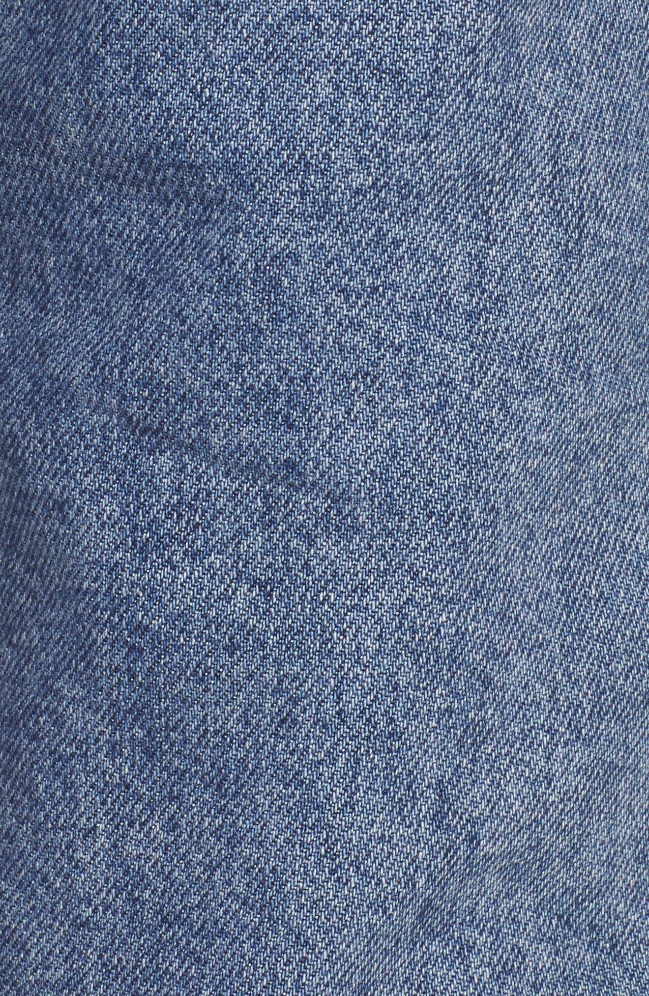 Raw Hem Straight Leg Jeans,                             Alternate thumbnail 6, color,                             MID BLUE
