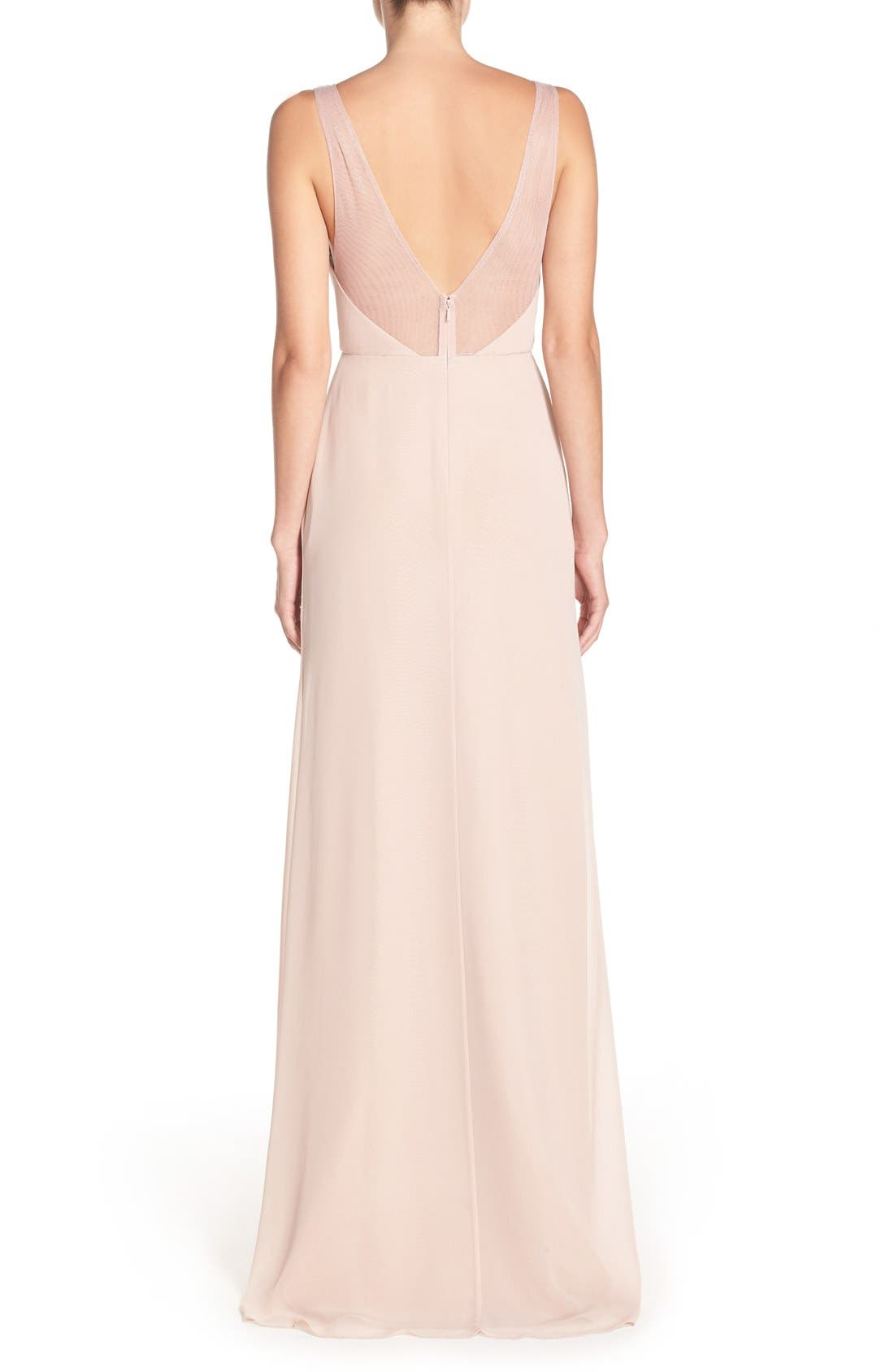 Deep V-Neck Chiffon & Tulle Gown,                             Alternate thumbnail 10, color,