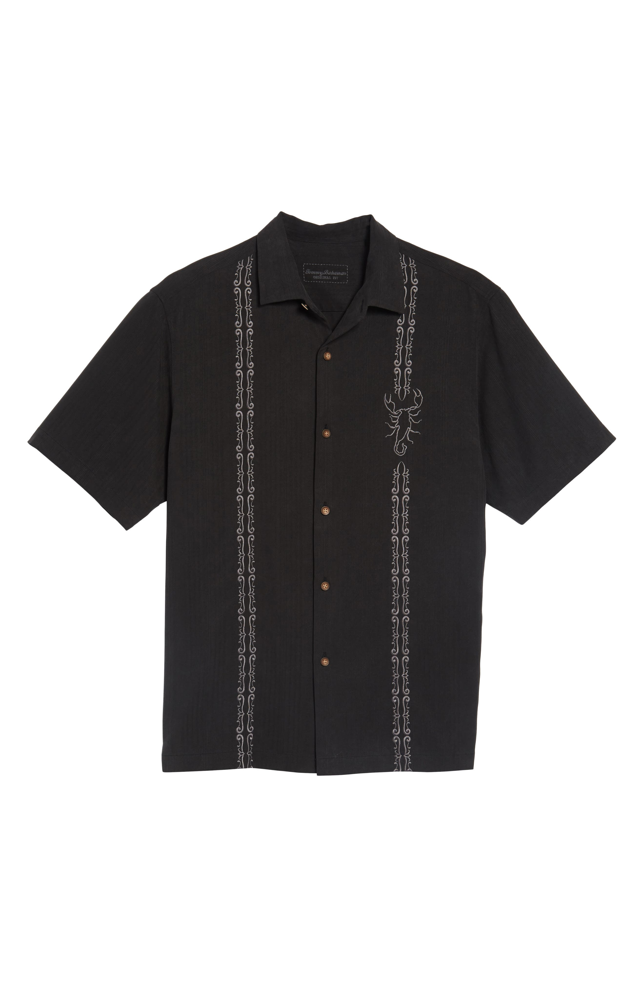 Drink Your Poison Embroidered Silk Woven Shirt,                             Alternate thumbnail 6, color,                             001