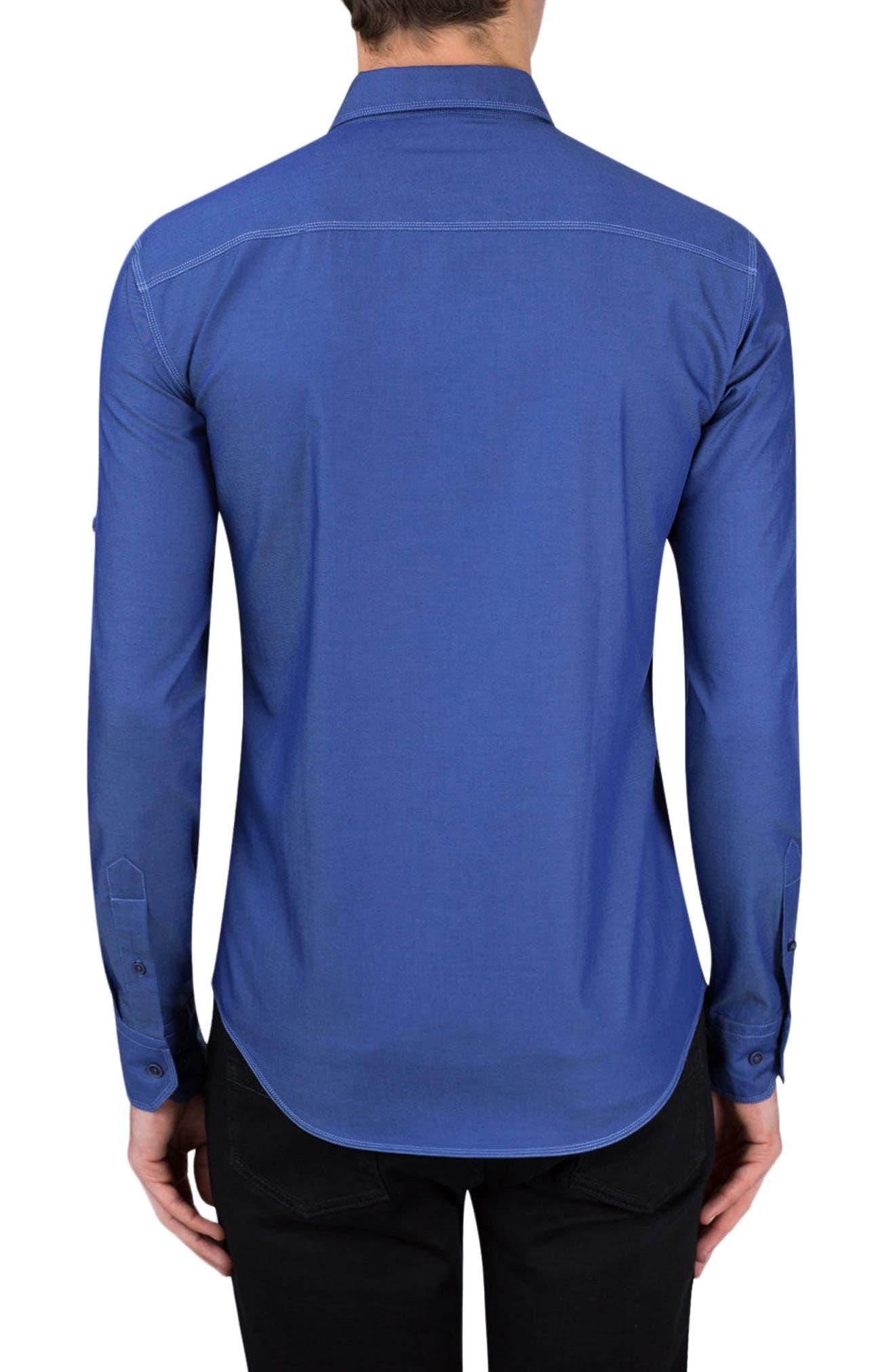 Classic Fit Topstitch Outline Sport Shirt,                             Alternate thumbnail 2, color,
