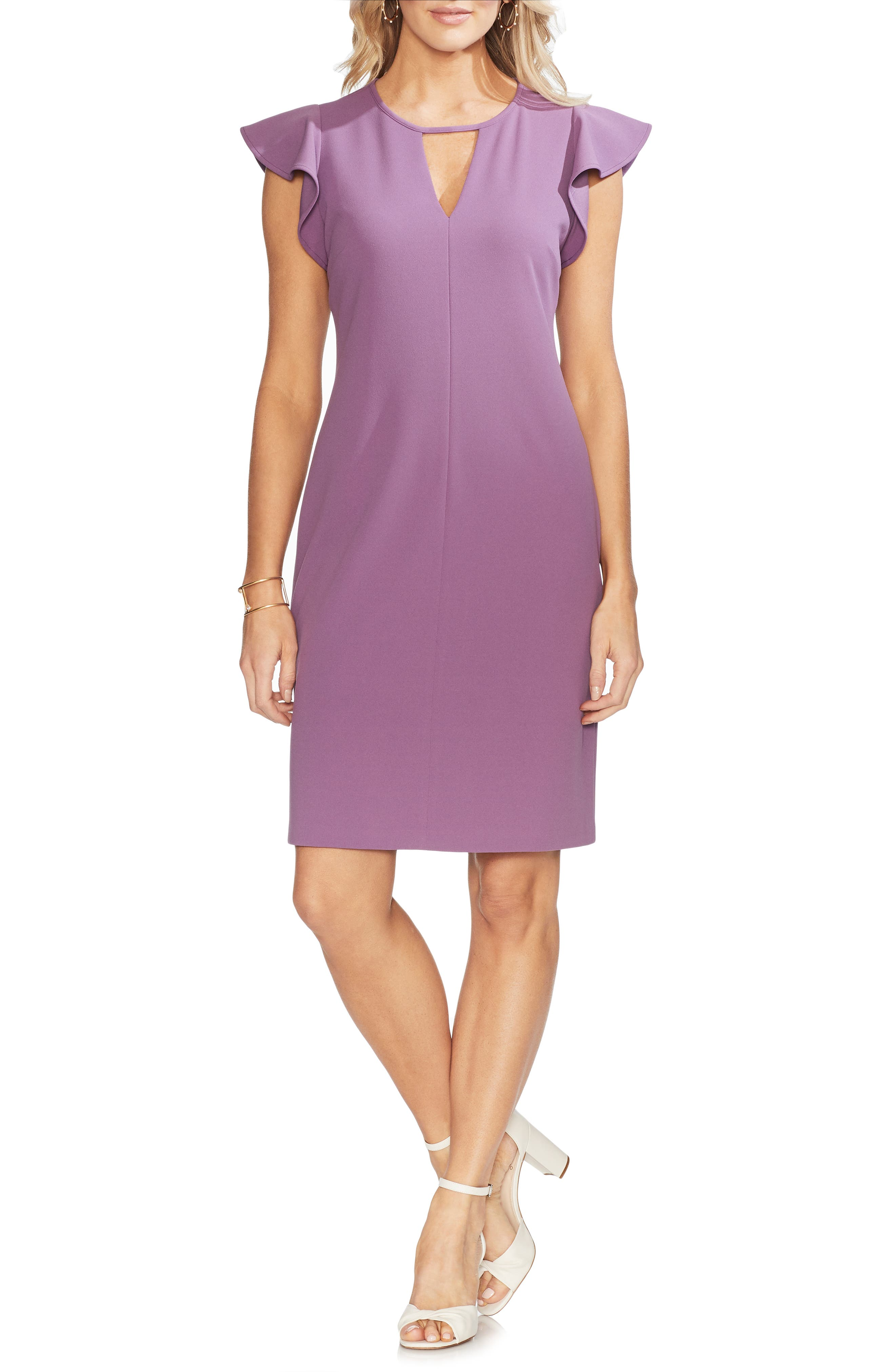 Vince Camuto Flutter Sleeve Sheath Dress, Purple