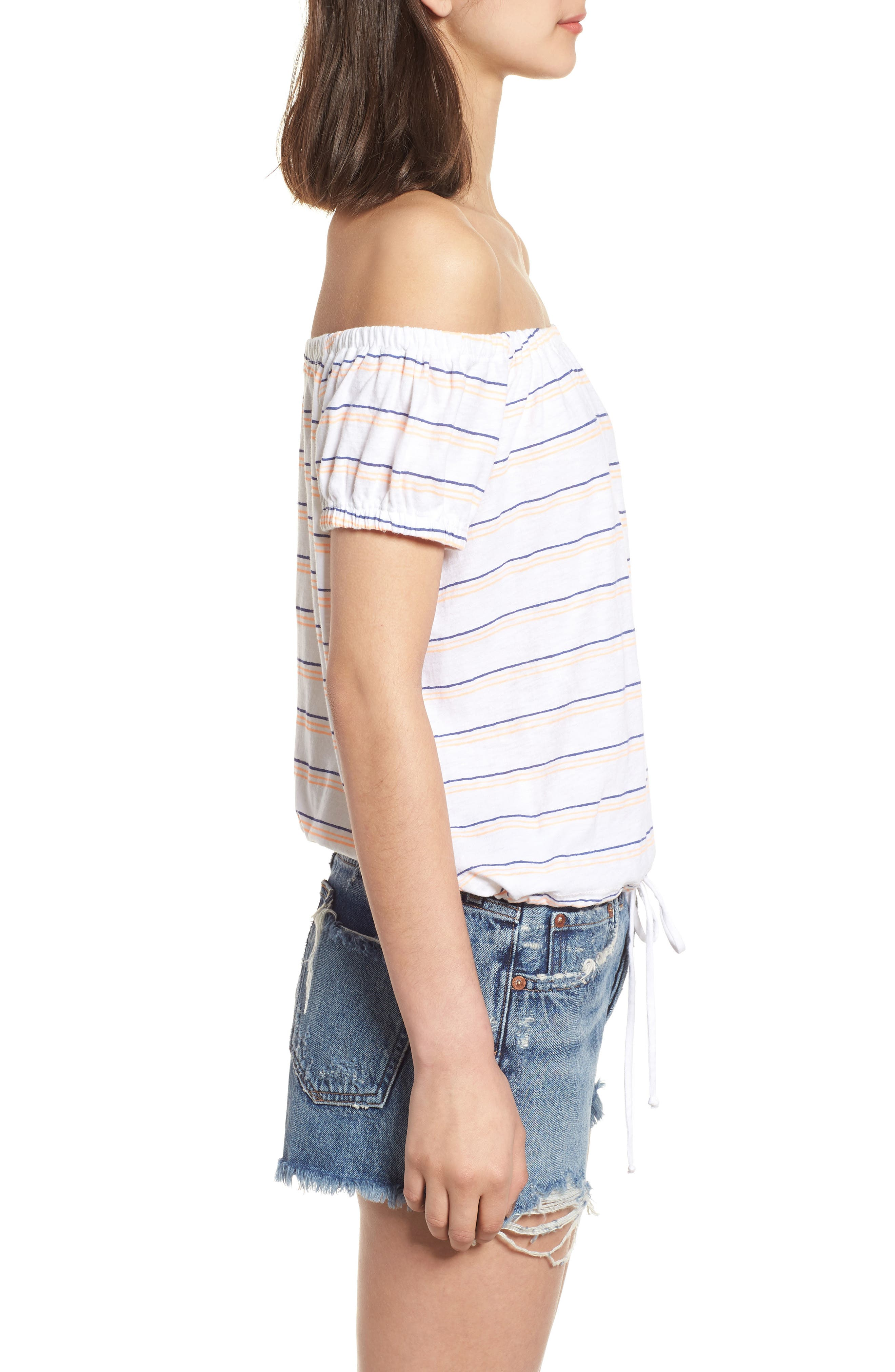 Stripe Off the Shoulder Tee,                             Alternate thumbnail 3, color,                             100