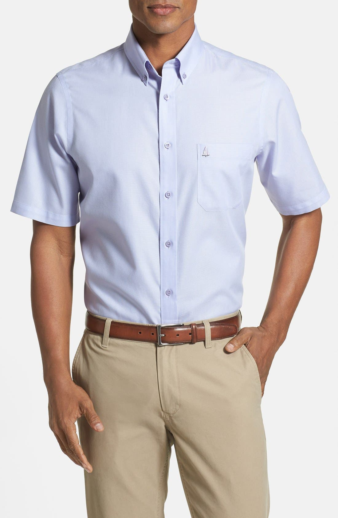 'Classic' Smartcare<sup>™</sup> Regular Fit Short Sleeve Cotton Sport Shirt,                             Main thumbnail 21, color,