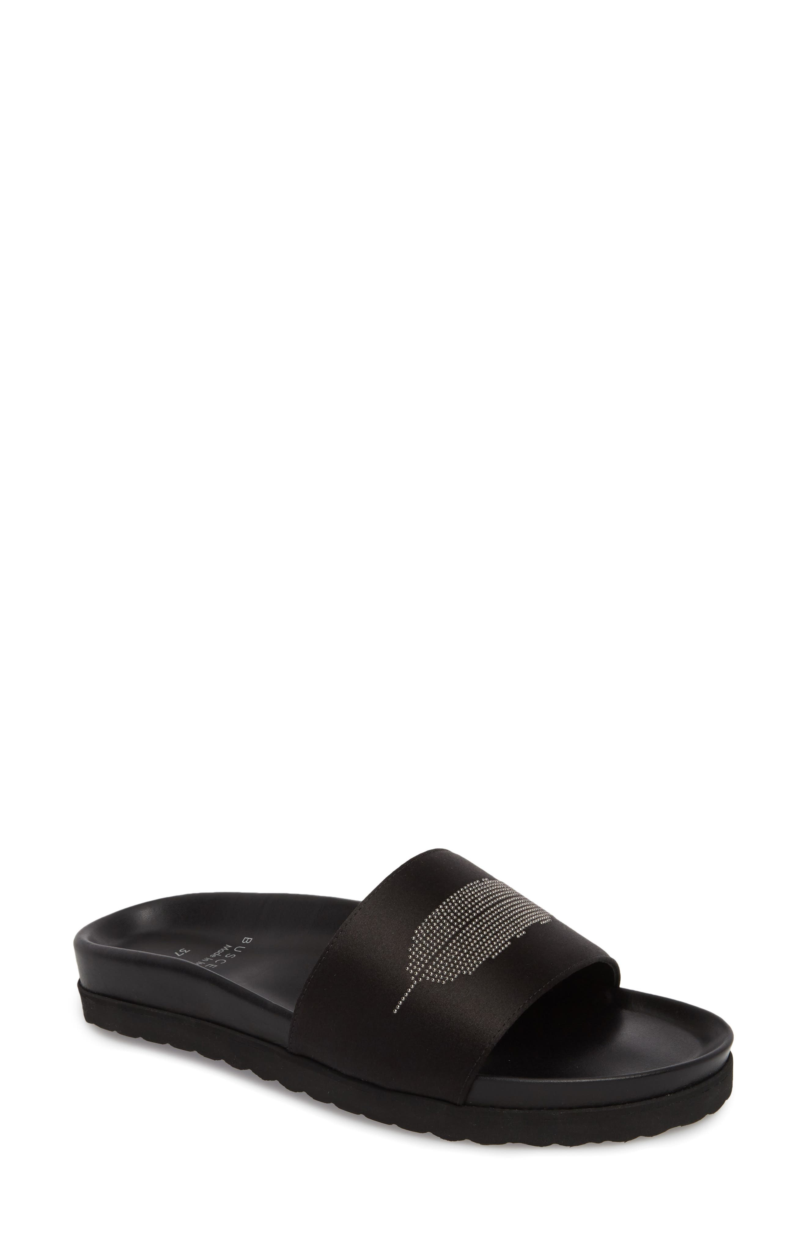 Satin Slide Sandal,                             Main thumbnail 1, color,                             BLACK