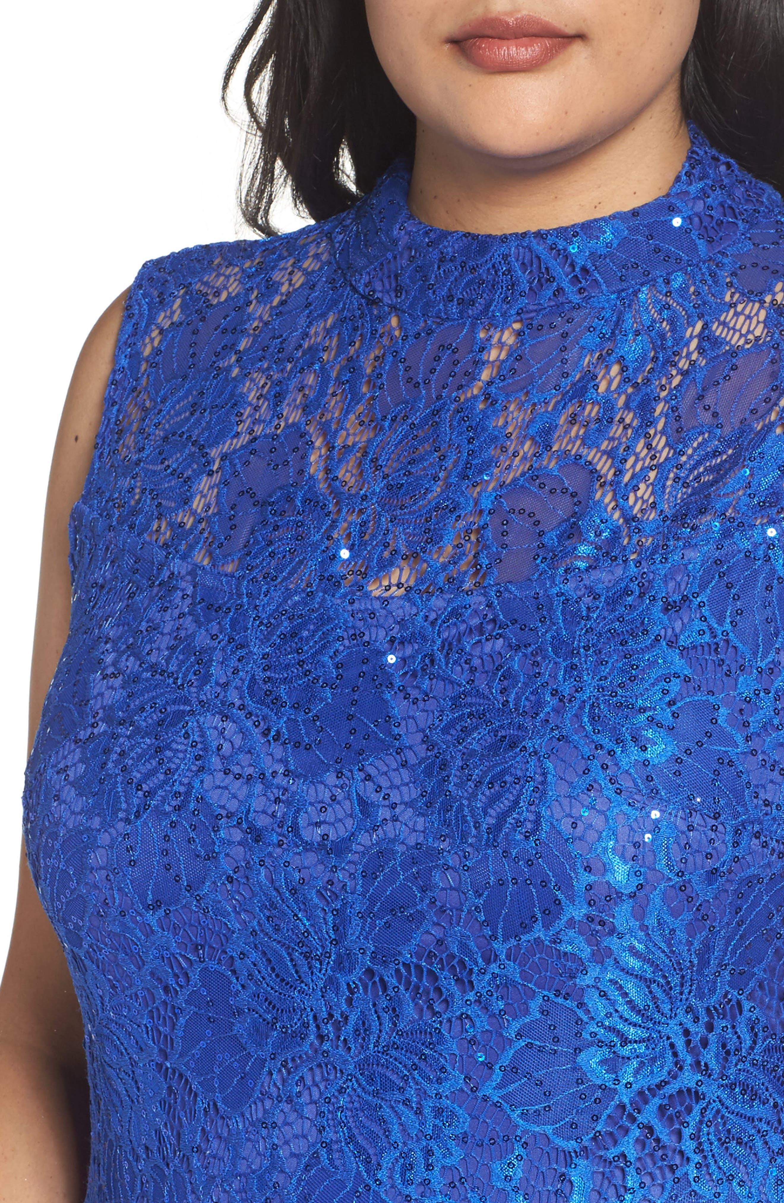 Illusion Lace Gown,                             Alternate thumbnail 8, color,